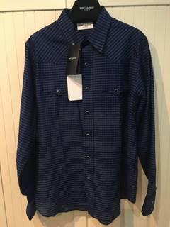 07bcfe8f Saint Laurent Paris Blue Cotton/Silk Checked Western Shirt