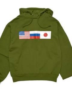 570e1b43d48fac Gosha Rubchinskiy Gosha Rubchinskiy Double Sleeve Hoodie Green Color Large  Size