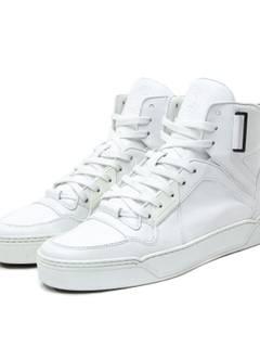 5ab4c80166e Gucci GUCCI Hi Top Calf Leather White Basketball Sneakers