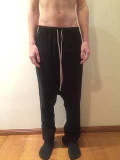 7a83e89dc28 Rick Owens fw10 Black Wool XS Pajama Knife Drop Crotch Pant