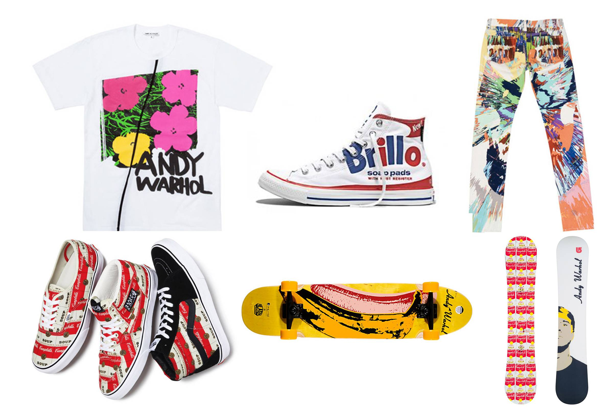 Clockwise from top left: Andy Warhol x Comme des Garçons, Andy Warhol x Converse, Damien Hirst x Levi's for the Andy Warhol Foundation, Andy Warhol x Burton, Alien Workshop for the Andy Warhol Foundation, Campbell's x Supreme x Vans
