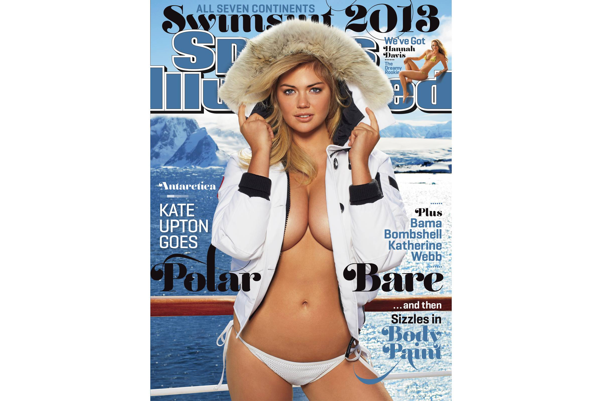 "Kate Upton on the cover of the 2013 edition of the ""Sports Illustrated Swimsuit Issue"""