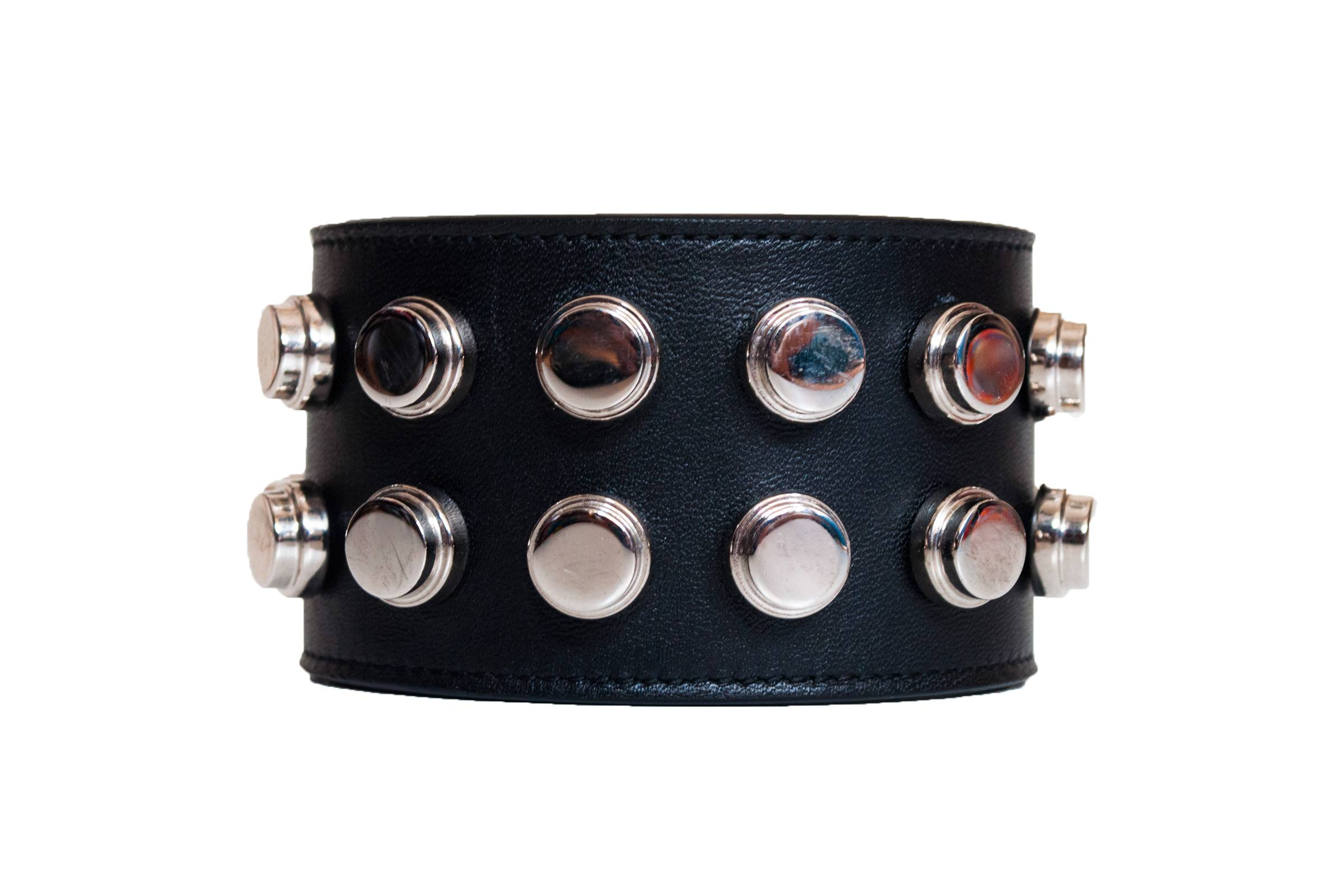 Saint Laurent Paris Studded Leather Cuff