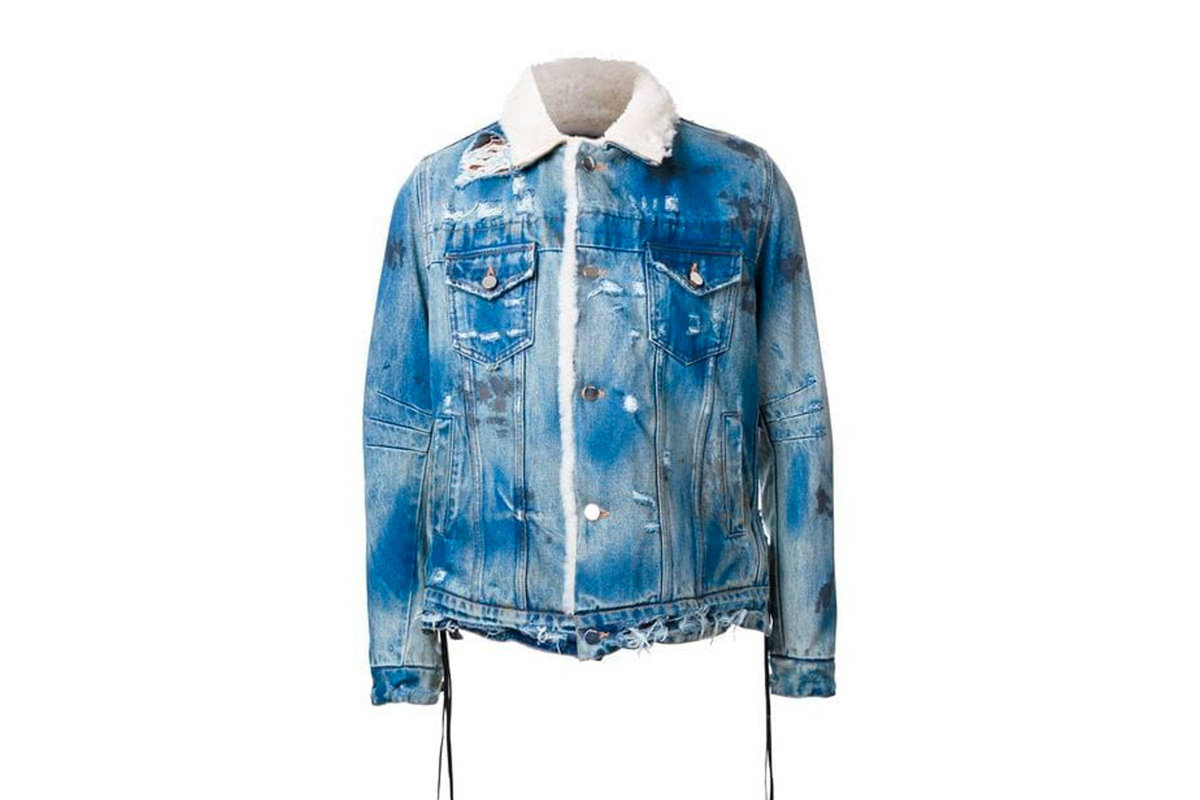 Amiri Shearling Denim Trucker Jacket
