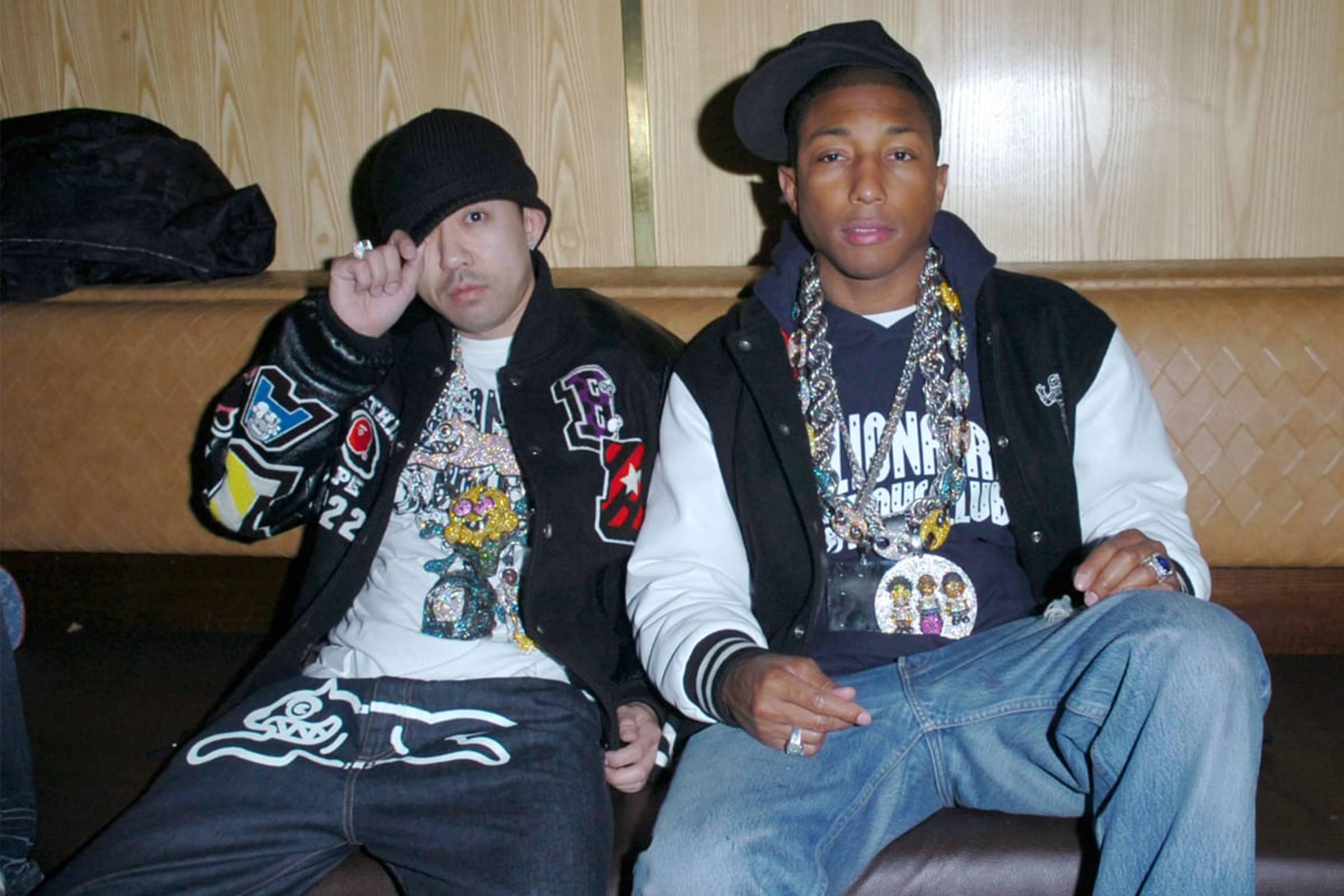NIGO (left) and Pharrell (right) wearing Billionaire Boys Club (early 2000s)
