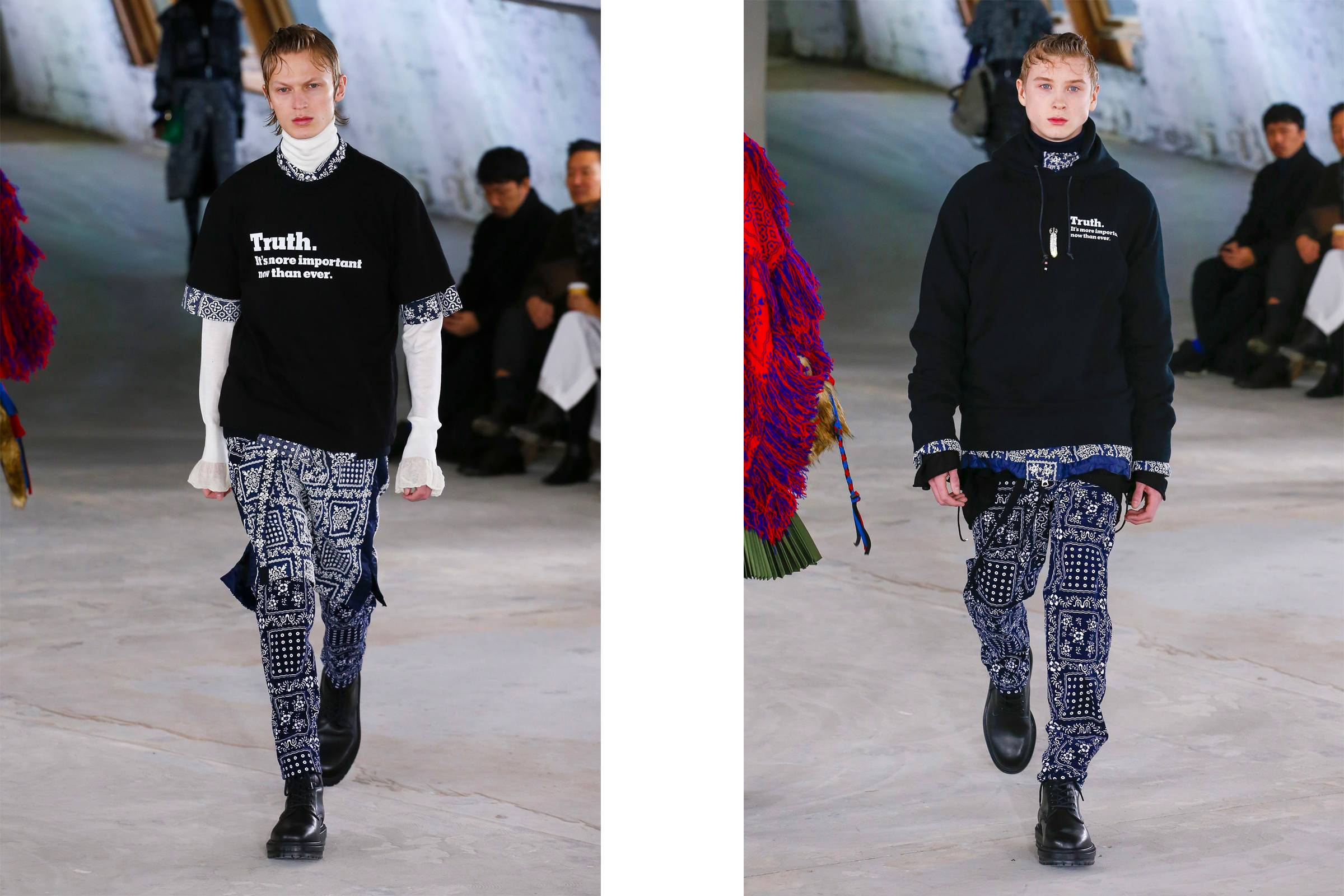 "Looks from Sacai Fall/Winter 2018 featuring the label's collaboration with ""The New York Times"""