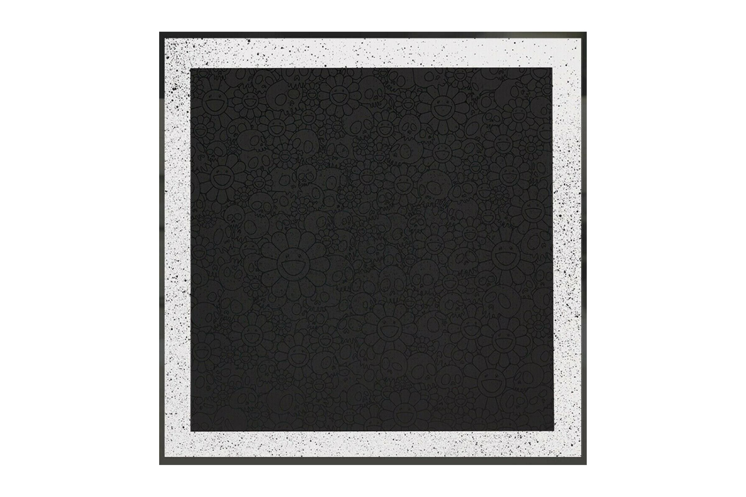 Takashi Murakami for BLM Black Flowers and Skulls Square Print