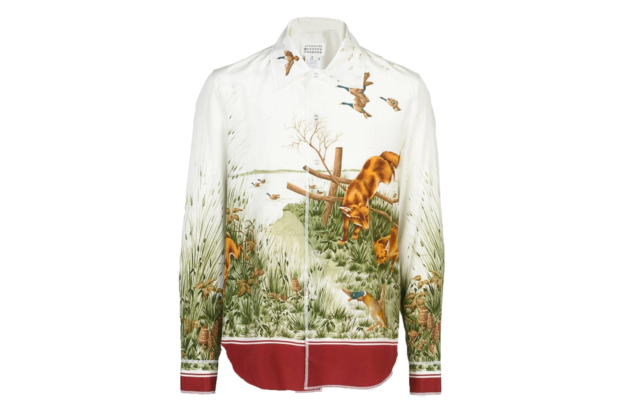 Maison Margiela Foxes Printed Silk Shirt