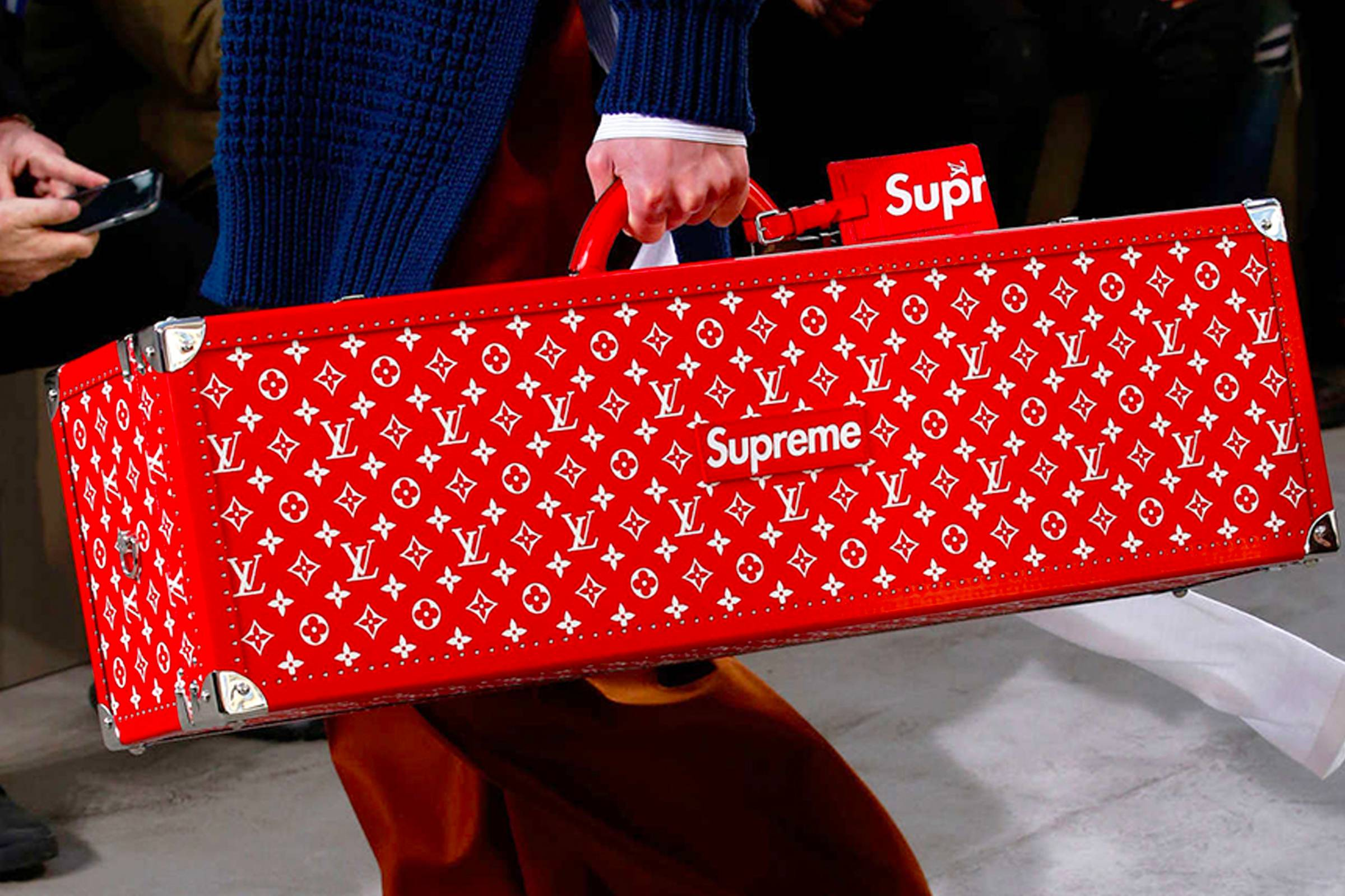 A trunk from Louis Vuitton's Fall/Winter 2017 collaboration with Supreme