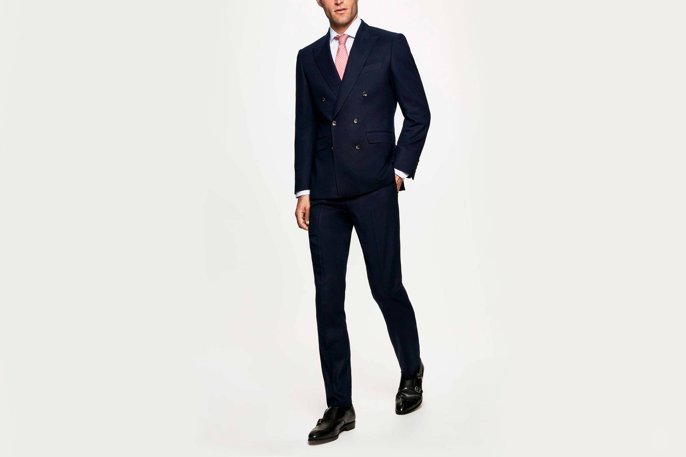 Types of Suits: Navy or Charcoal Double-Breasted Suit - Wool Flannel