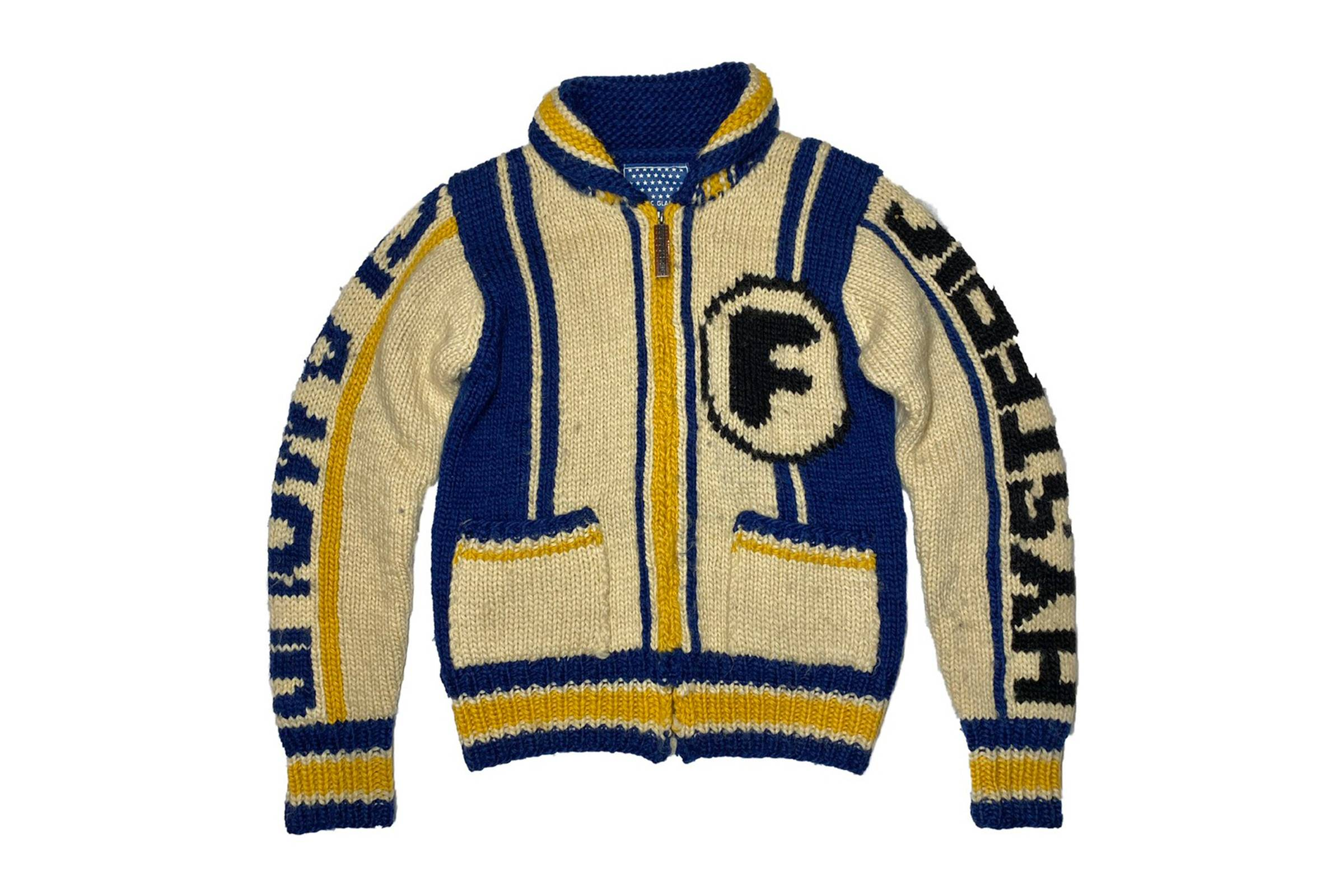 """Hysteric Glamour """"Fuck It"""" Cowichan Knit Cardigan"""