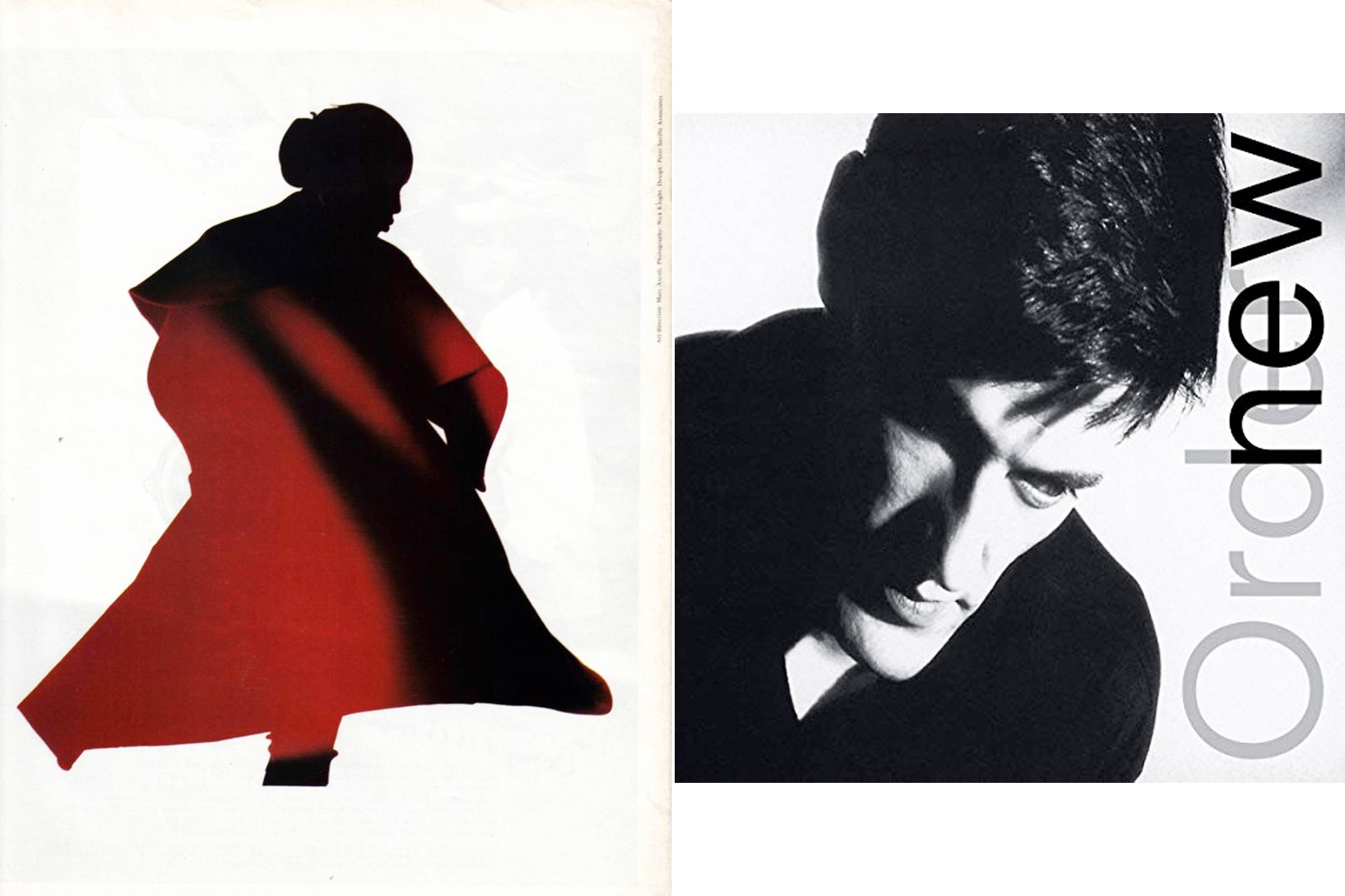 "An image from Yohji Yamamoto's Fall/Winter 1987 catalog (left), photographed by Nick Knight and designed in collaboration with Peter Saville; ""Low Life"" album cover (right)"