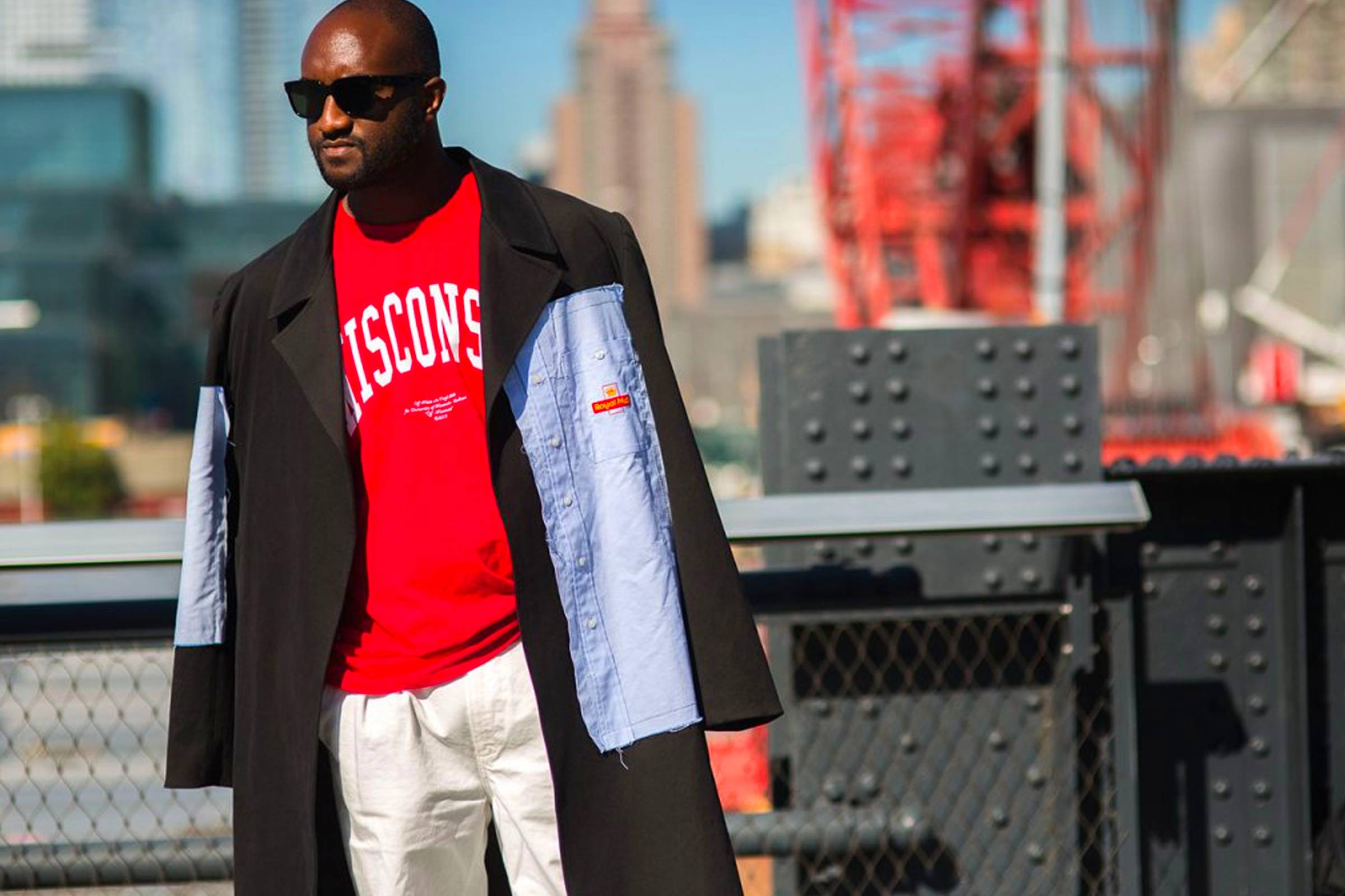 "Virgil Abloh wearing his ""Wisconsin"" T-shirt in 2015"