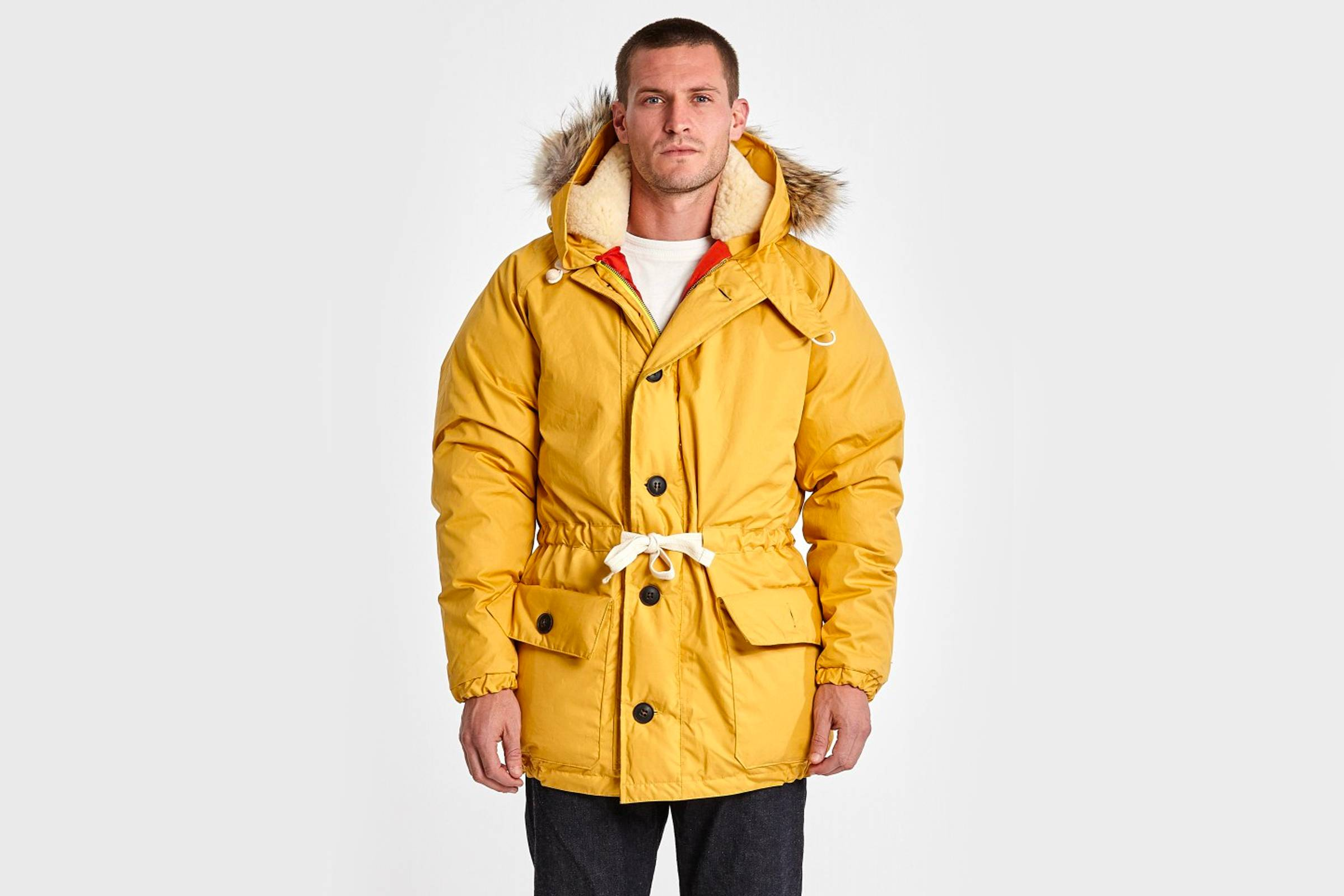"Nigel Cabourn's signature Everest Parka in brand store-exclusive ""vintage yellow"""
