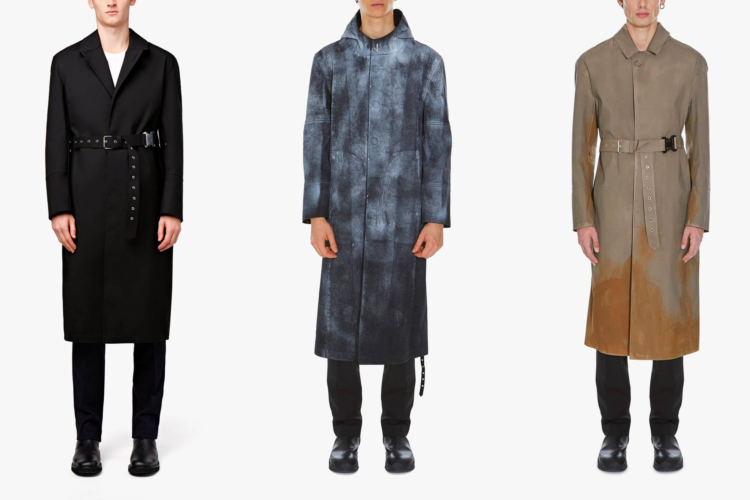Three mackintosh coats from Alyx and Mackintosh's Spring/Summer 2018 collaboration collection