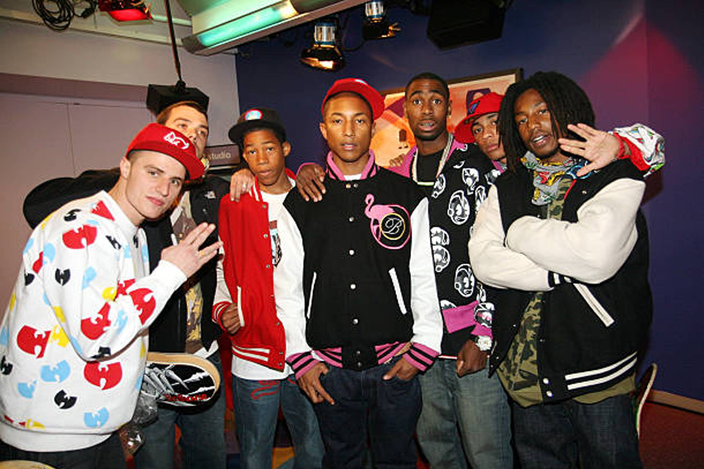 "Pharrell with the Ice Cream Skate Team backstage at MTV's ""Sucker Free"" on November 21, 2006"