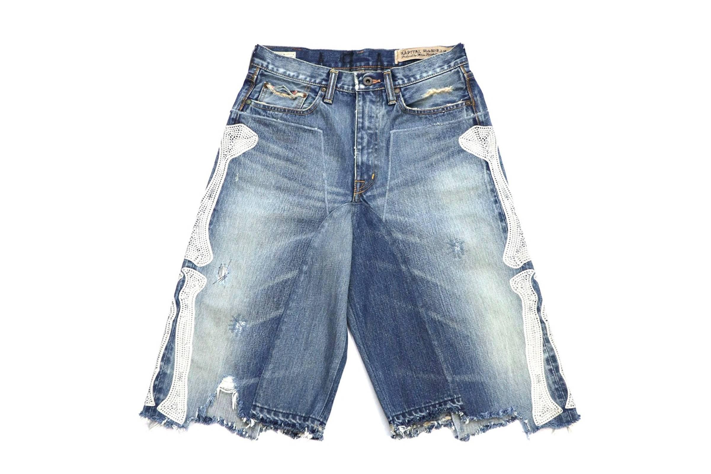 Kapital Bones Applique Denim Shorts
