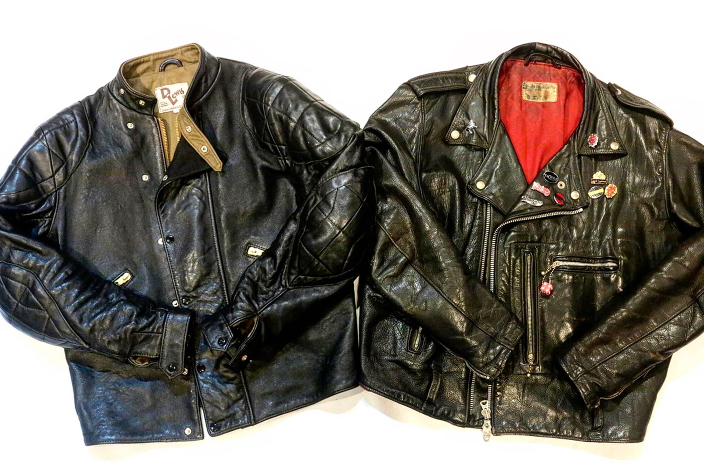 D Lewis UVR MK2 (left), Vintage Lewis Leathers Bronx Jacket (Right)