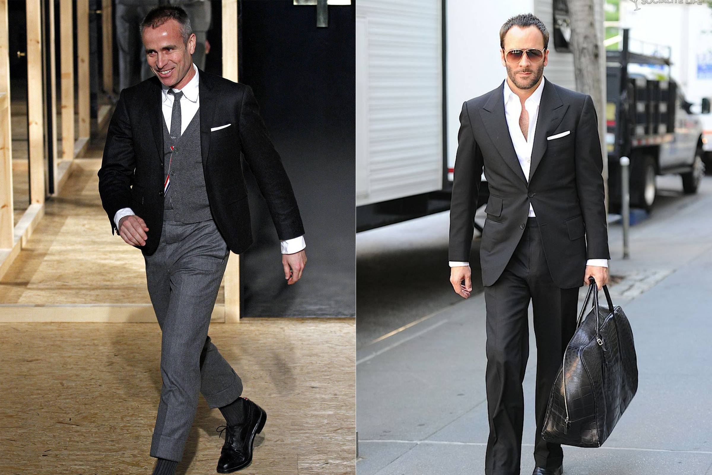 Thom Browne (left) and Tom Ford (right) both in their signature uniform: suits of their own design