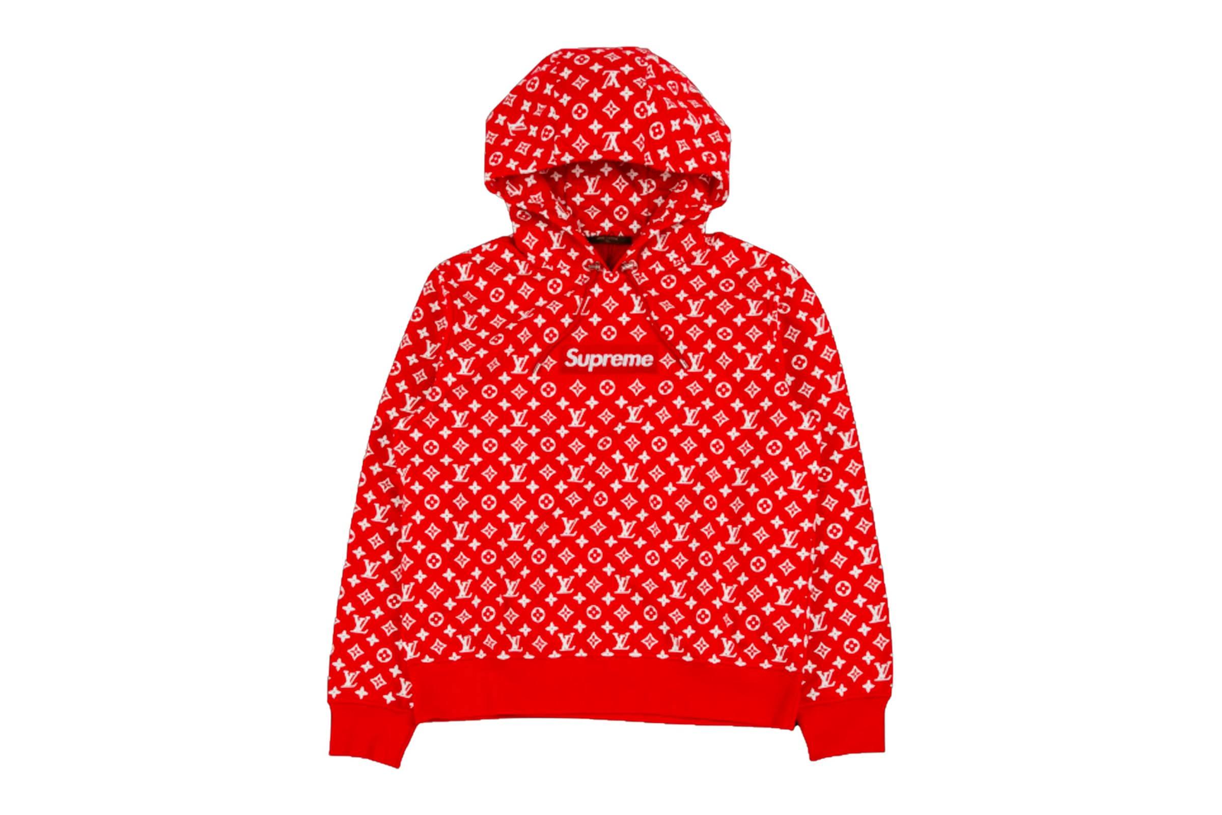 3. Supreme x Louis Vuitton Red Monogram Print Box Logo Hoodie