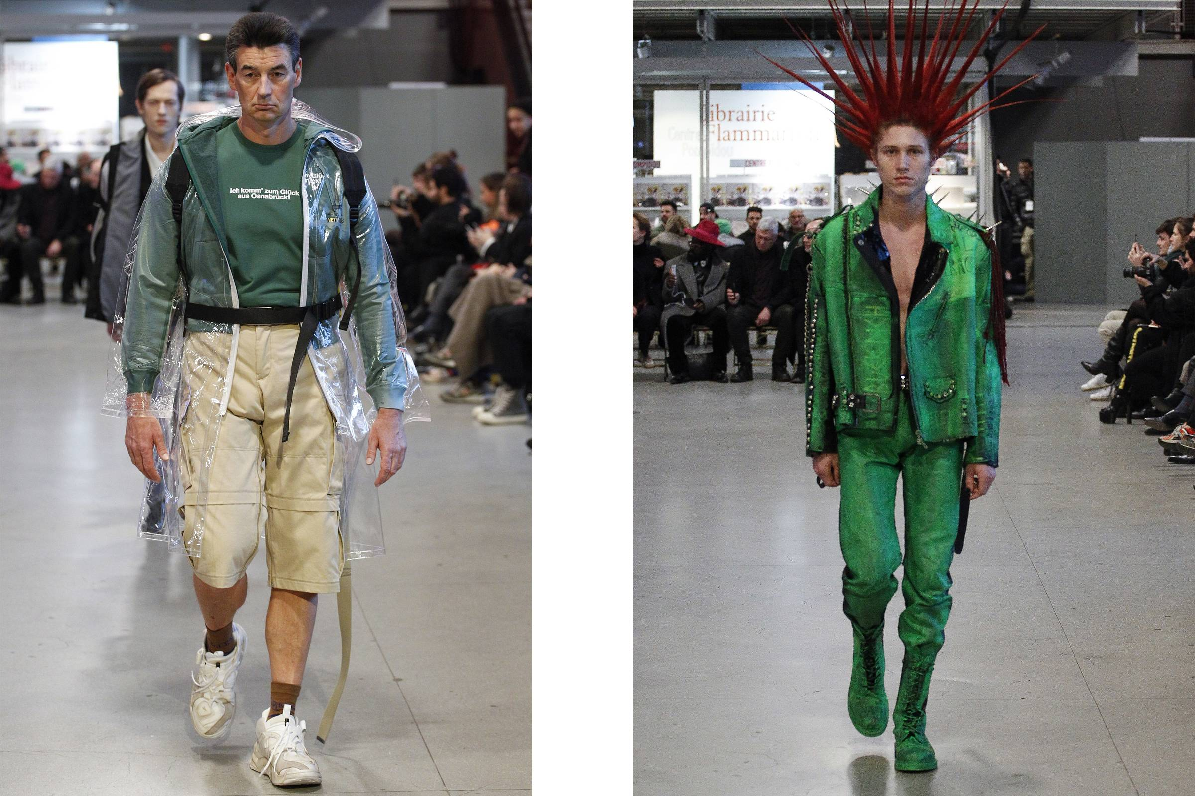 """""""German Tourist"""" (left) and """"Punk"""" looks from Vetements Fall/Winter 2017"""