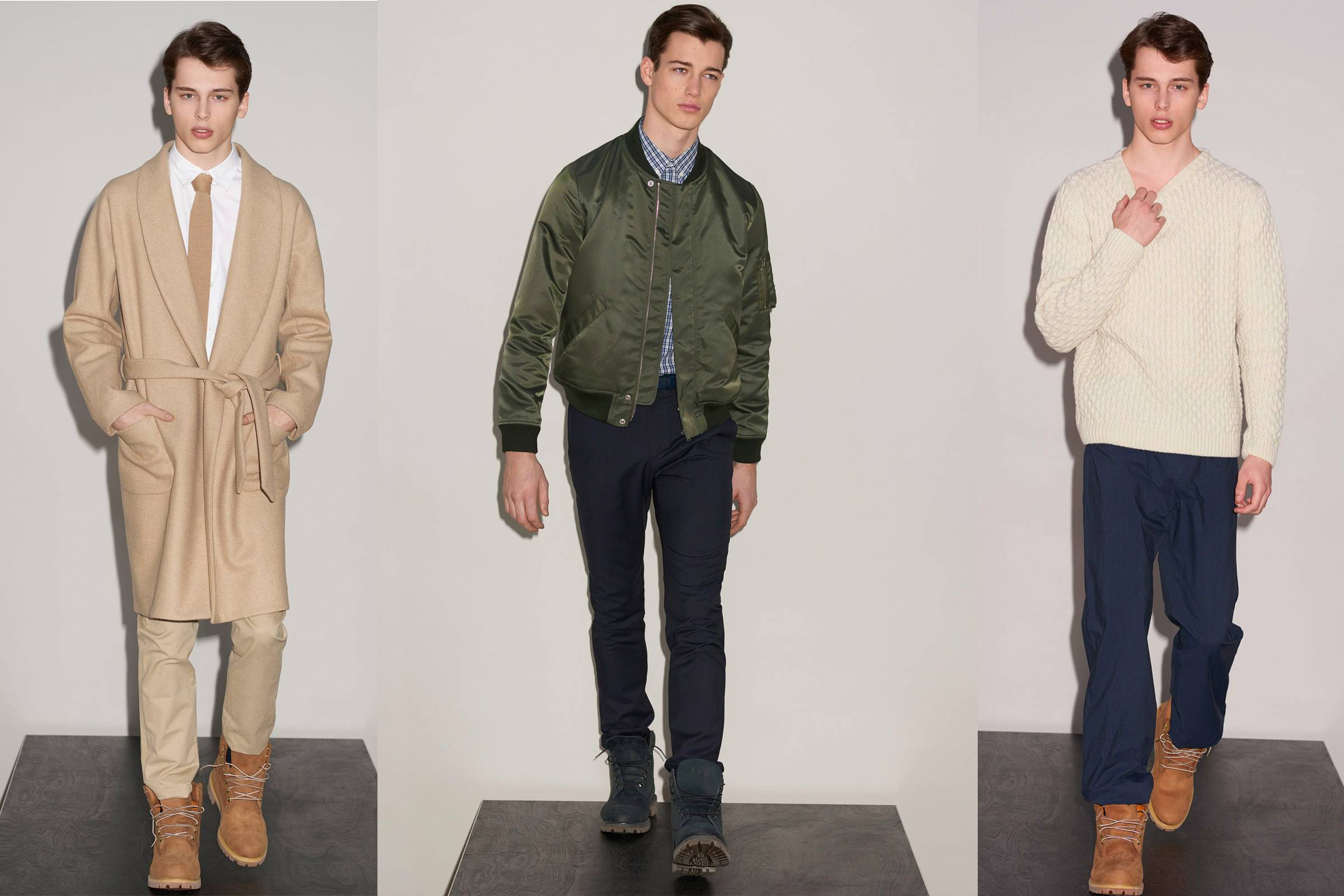 Looks from A.P.C.'s controversial Fall/Winter 2015 collection, including the unproduced Timberland boots