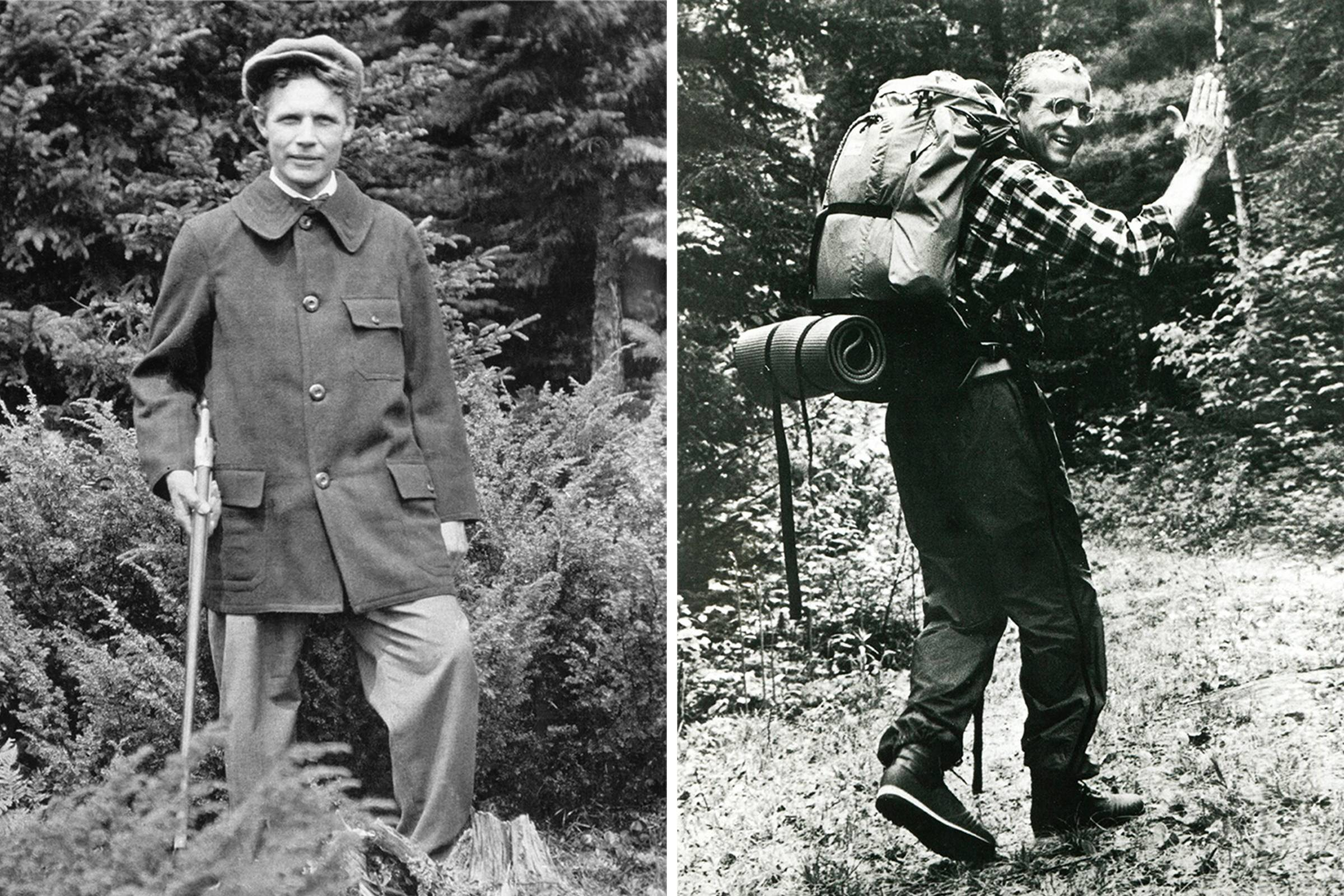 Founder Leon Leonwood Bean (in the original Maine Safety Hunting Coat) in 1917 (left), Leon Gorman (grandson of founder L.L. Bean and the company's second-ever president) hiking in 1985