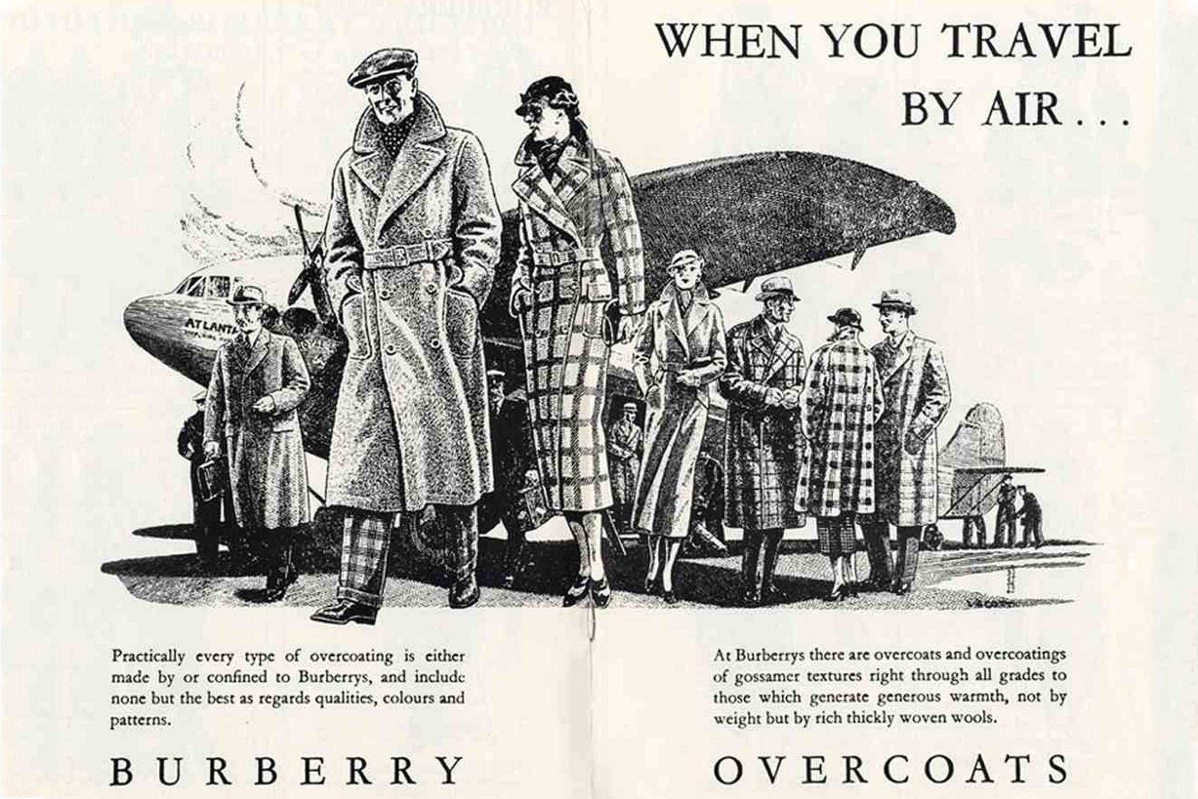 A Burberry trenchcoat advertisement circa WWI-era