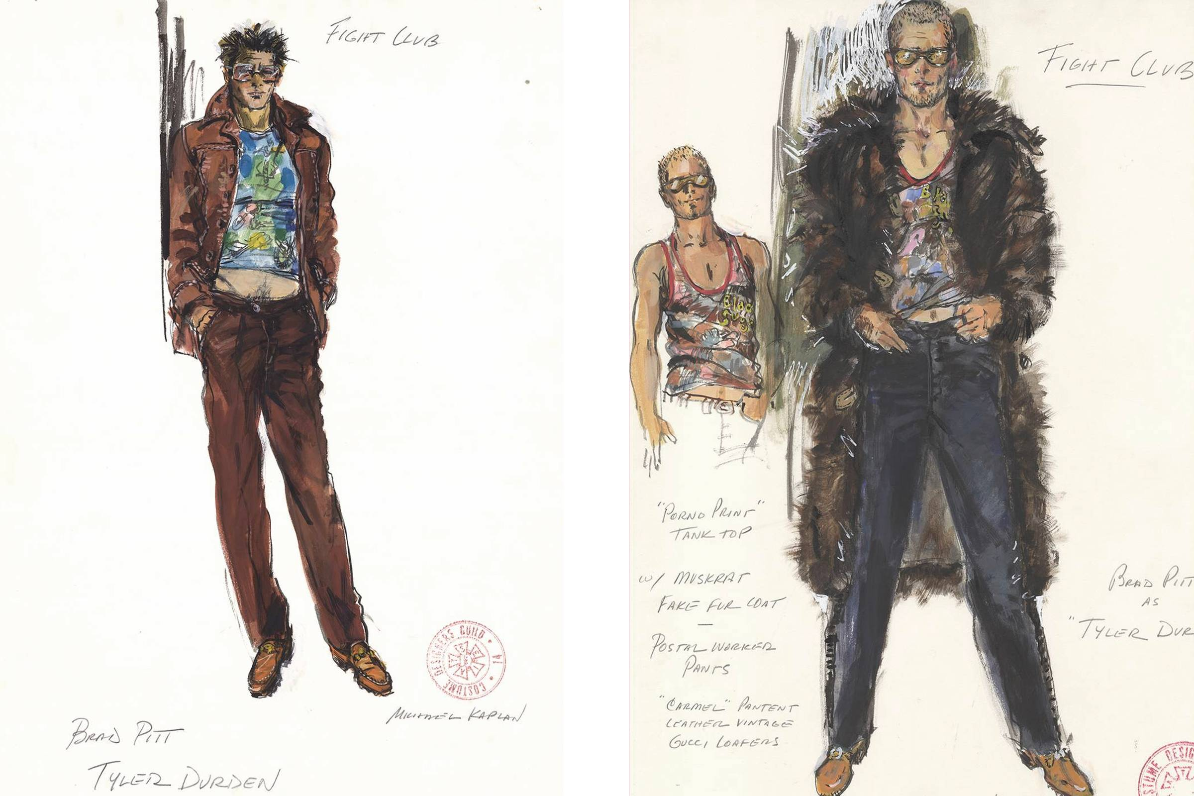 "Costume sketches for Tyler Durden by ""Fight Club"" costume designer Michael Kaplan"