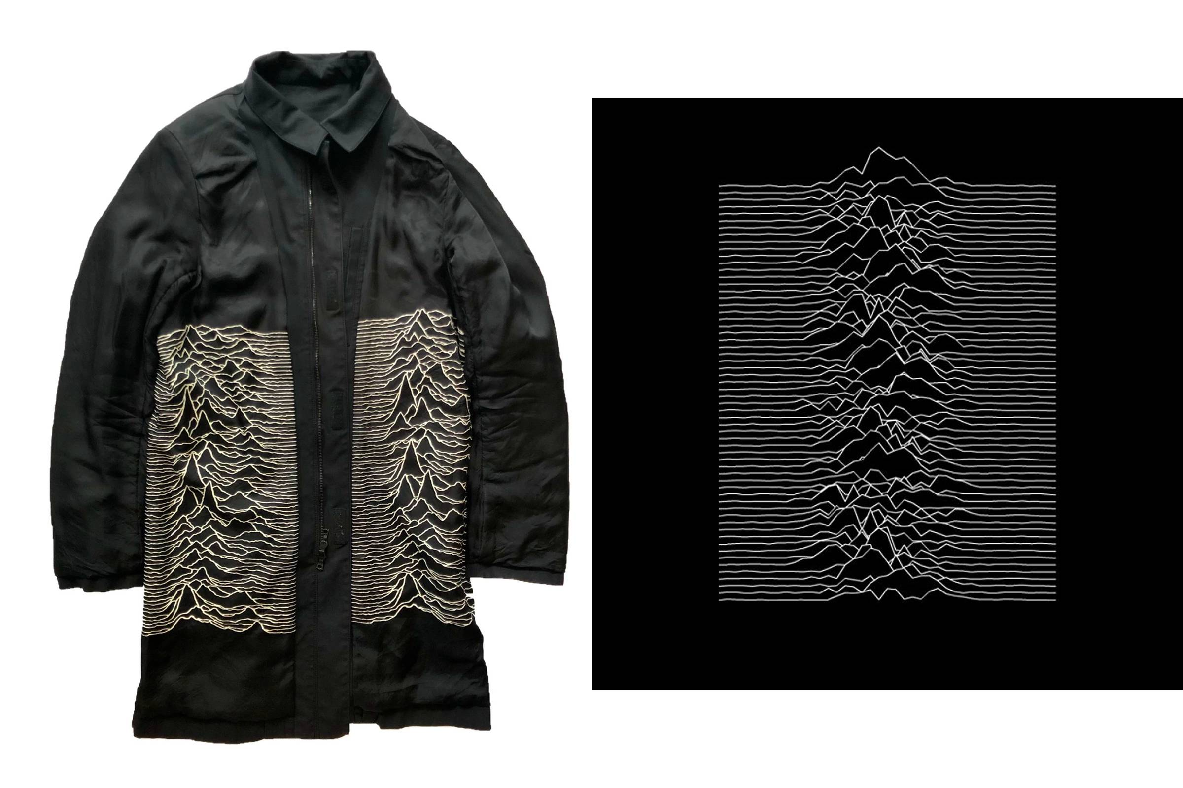 "A coat from Undercover's Fall/Winter 2009 collection (left); ""Unknown Pleasures"" album cover (right)"