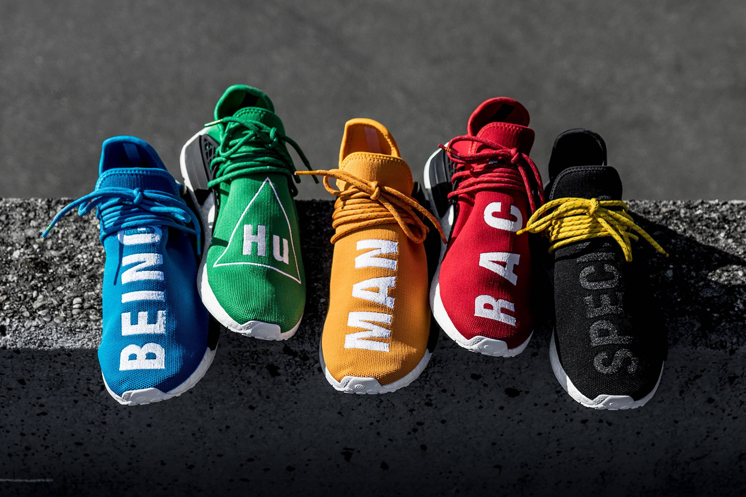 Early colorways from Pharrell's collaboration adidas HU NMD collection