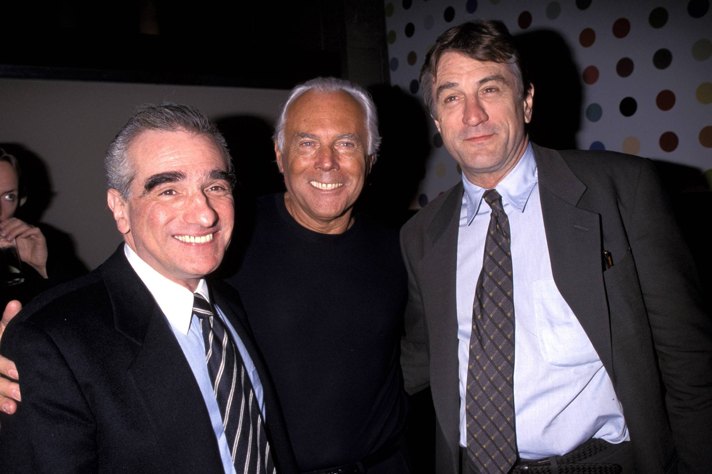 Martin scorsese, Giorgio Armani, and Robert De Niro in 1990