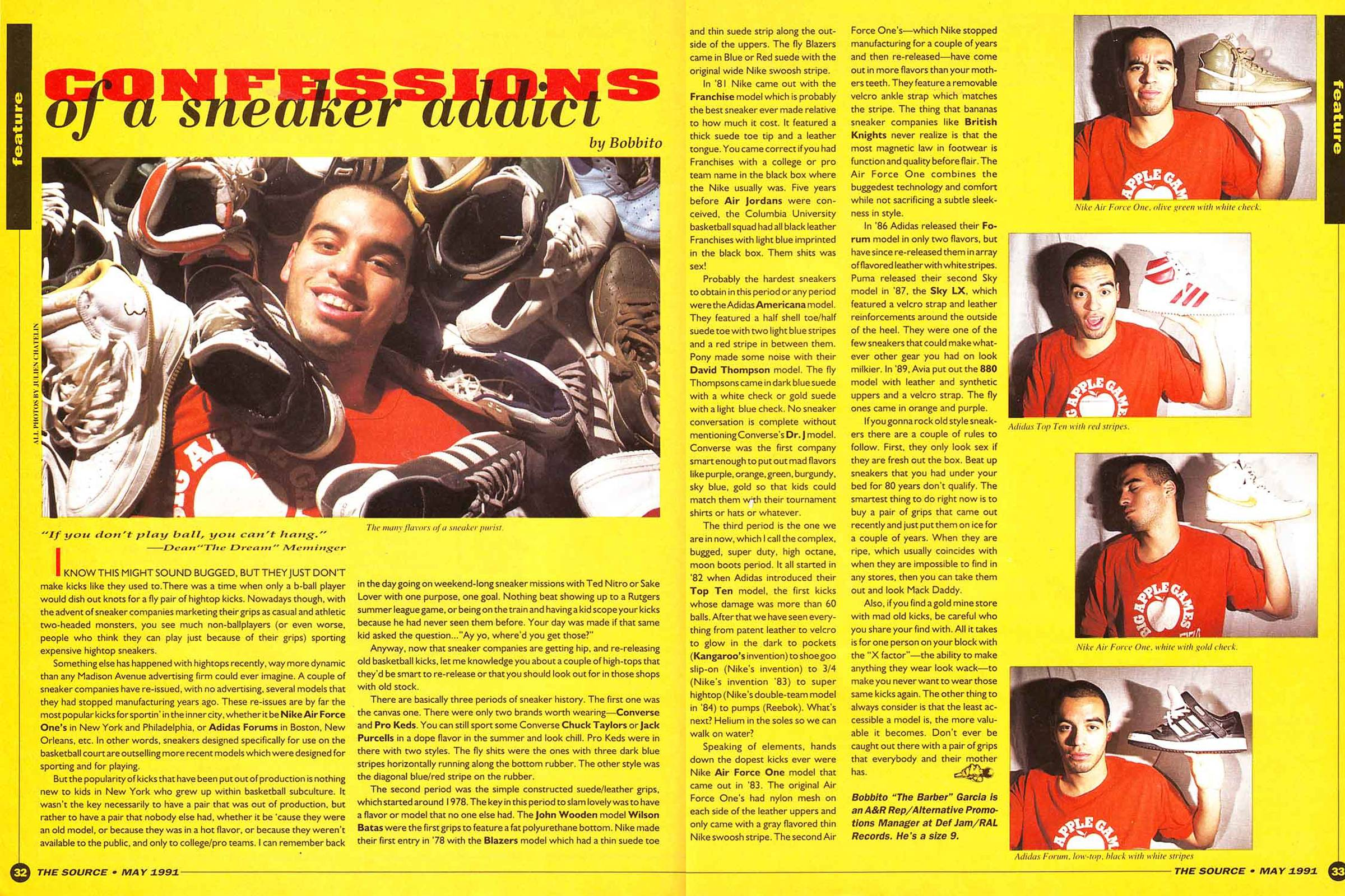 "Bobbito Garcia's ""Confessions of a Sneaker Addict"" article from the May 1991 issue of ""The Source"""