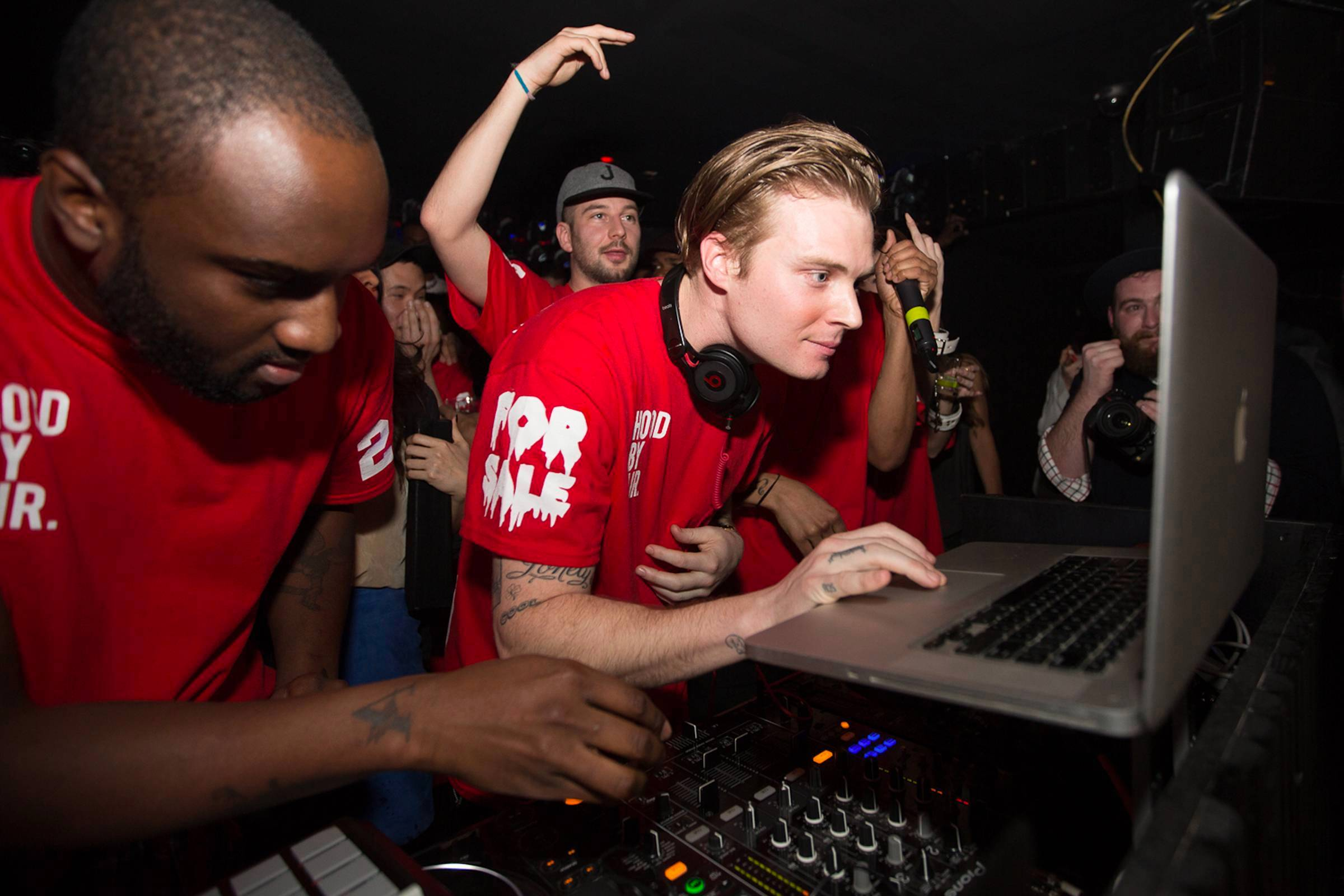 Virgil Abloh (left), Matthew Williams (center) and Justin Saunders (back, center) DJing at a #BEENTRILL# party