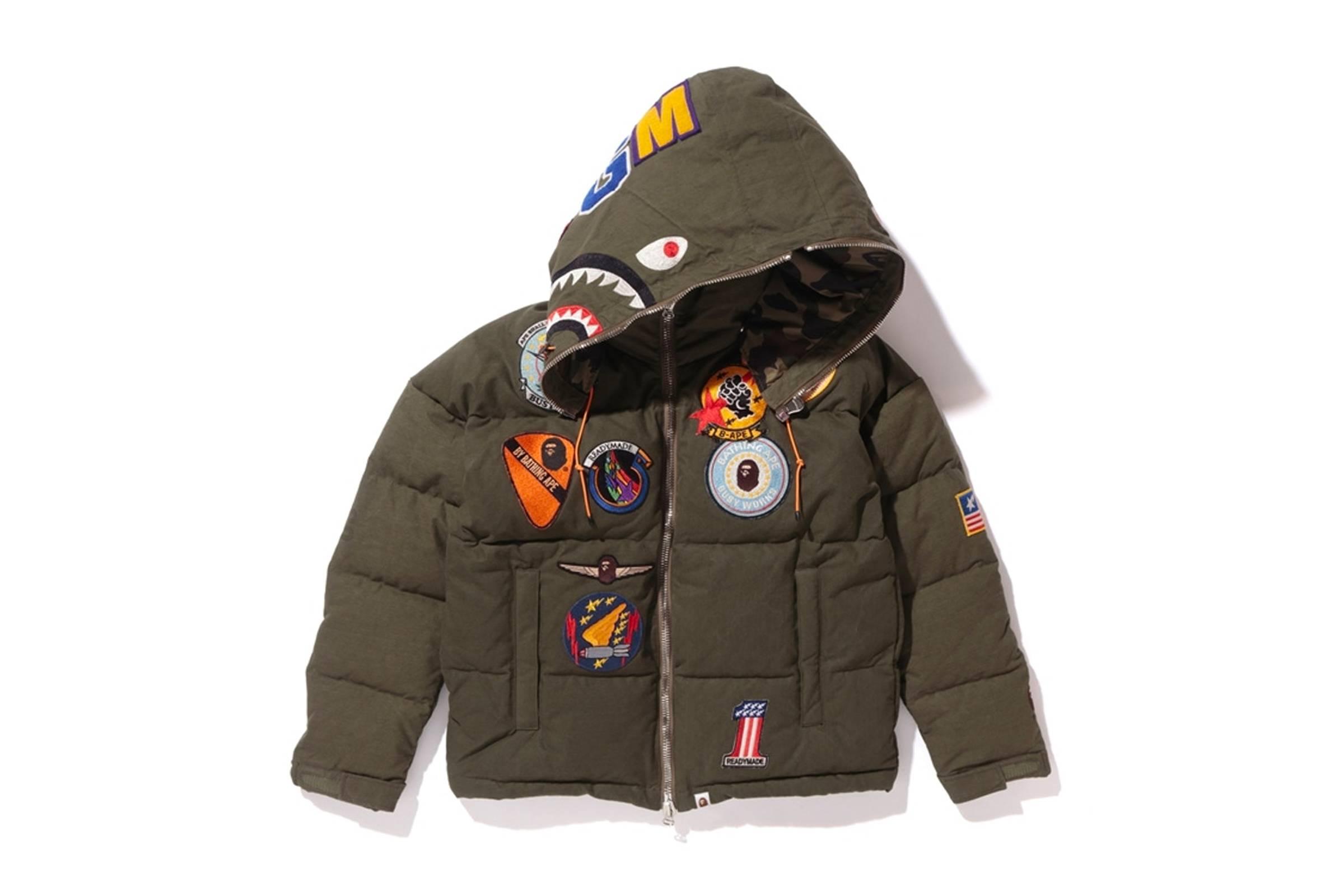 BAPE x READYMADE Down Shark Hooded Puffer Jacket