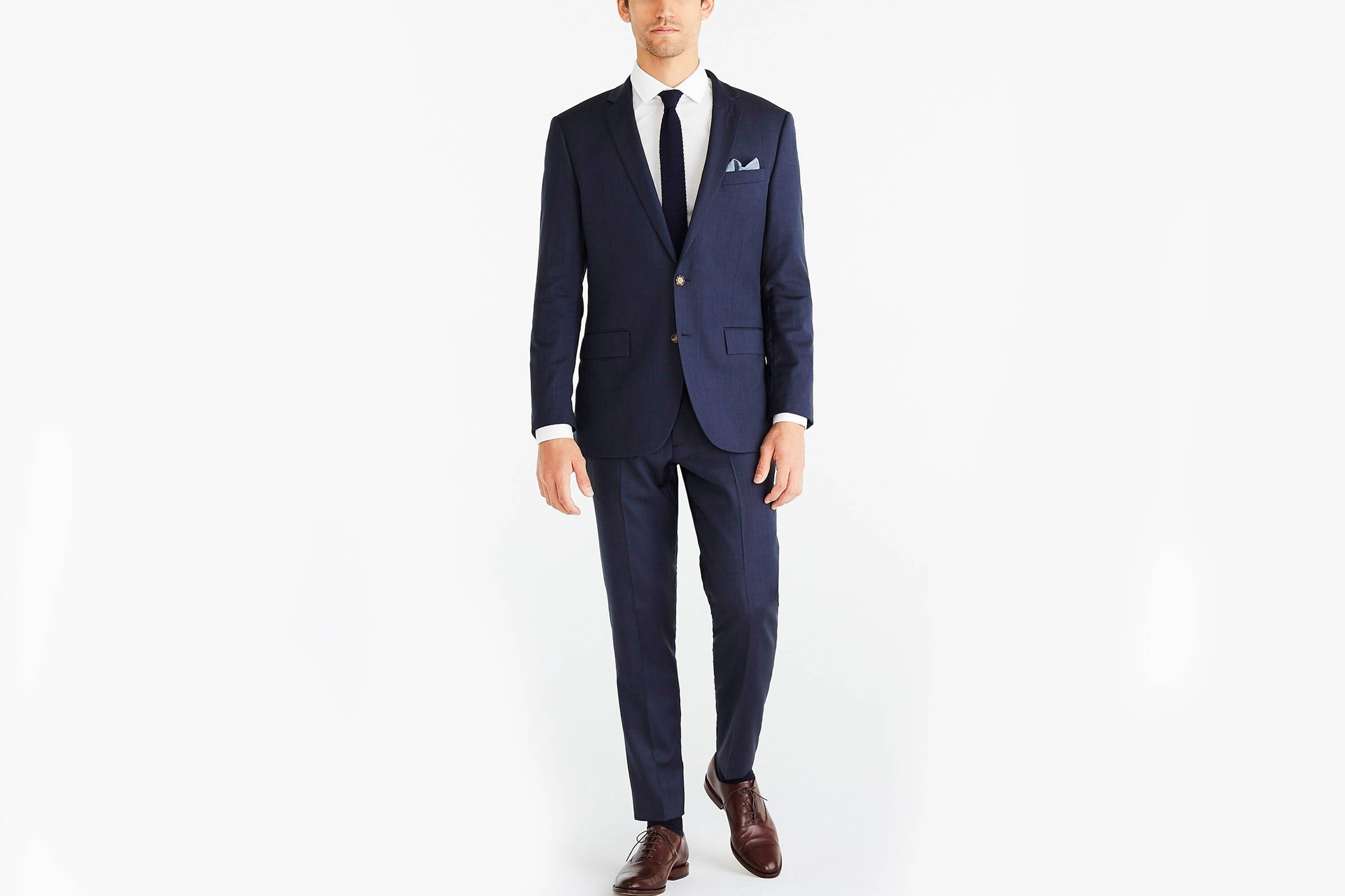 Types of Suits: Navy Single-Breasted Suit - Worsted Wool