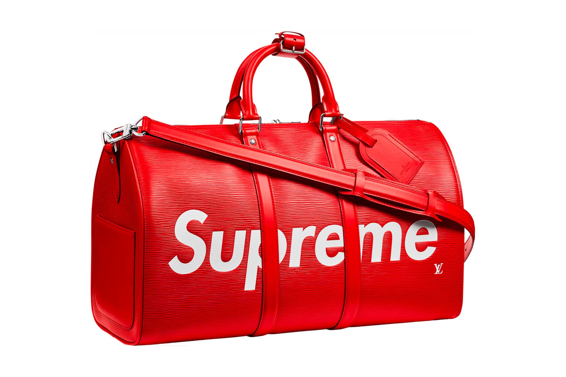 Supreme x Louis Vuitton Keepall Bandouliere Epi 45 Red