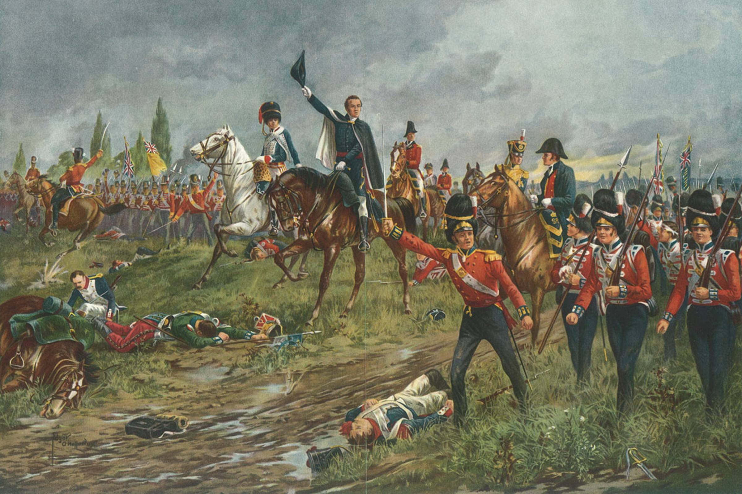 """The Whole Line Will Advance,"" painting of Duke Arthur Wellesley ordering troops at the Battle of Waterloo, 1815"