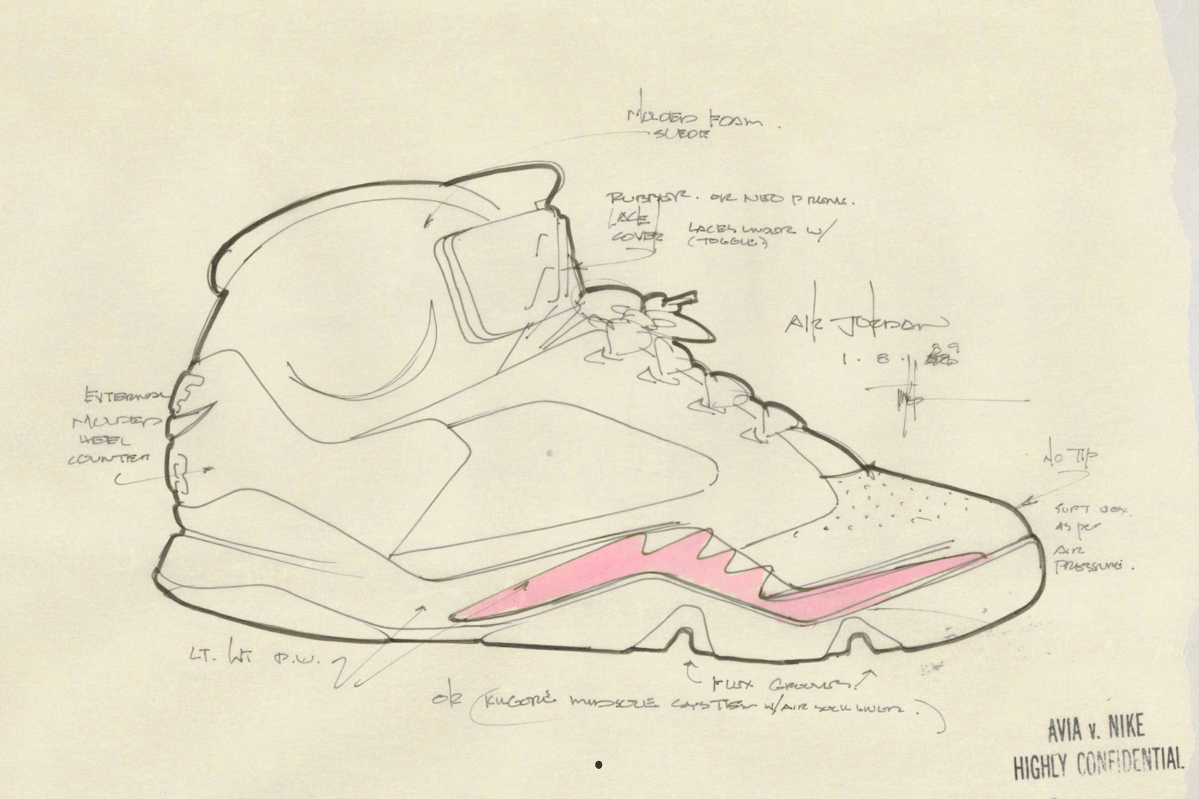 "A Tinker Hatfield sketch outlining the Jordan V's signature ""sharktooth"" side detail (1990)"