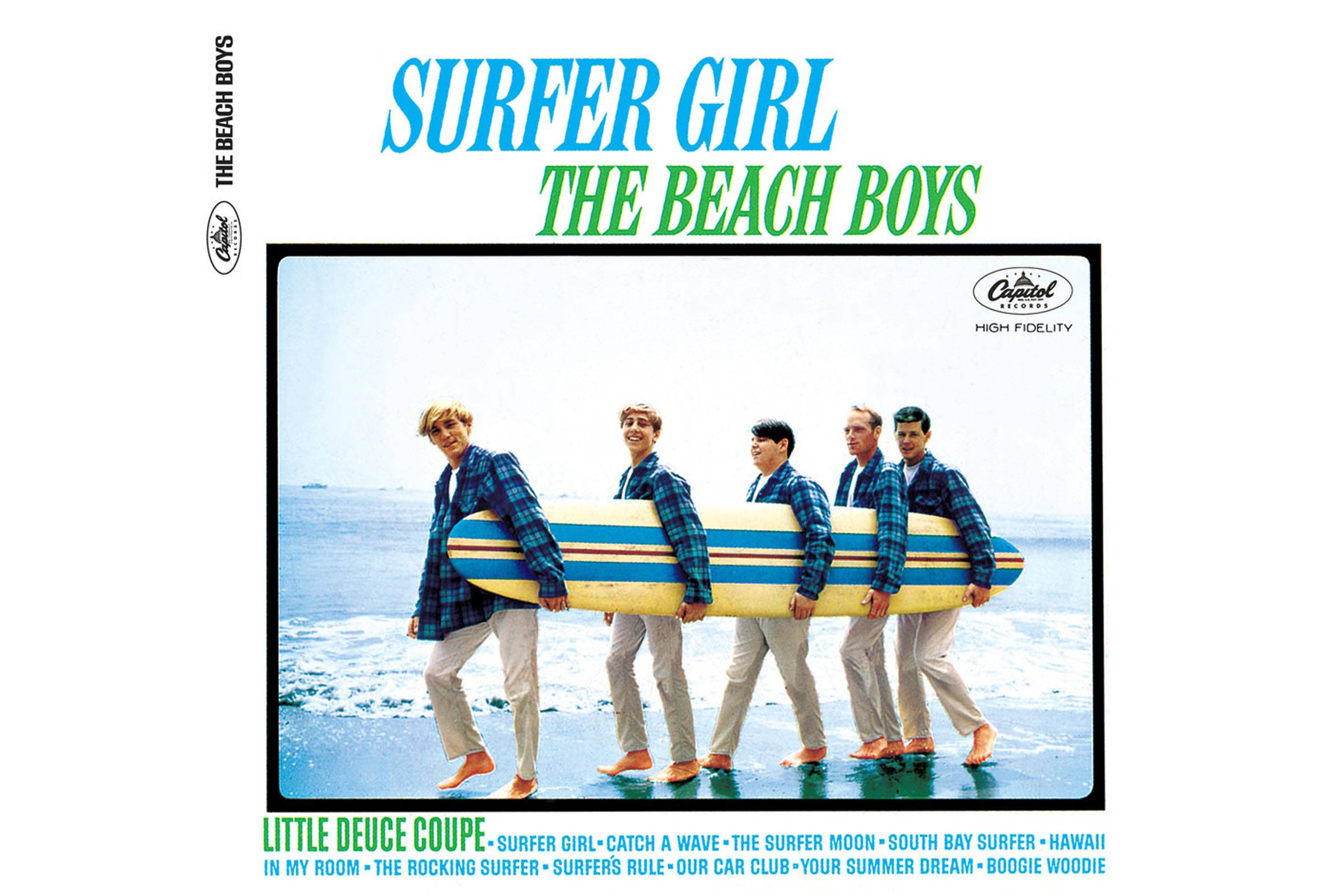 "The Beach Boys wearing matching blue plaid Pendleton jackets on the cover of 1963's ""Surfer Girl"" LP"