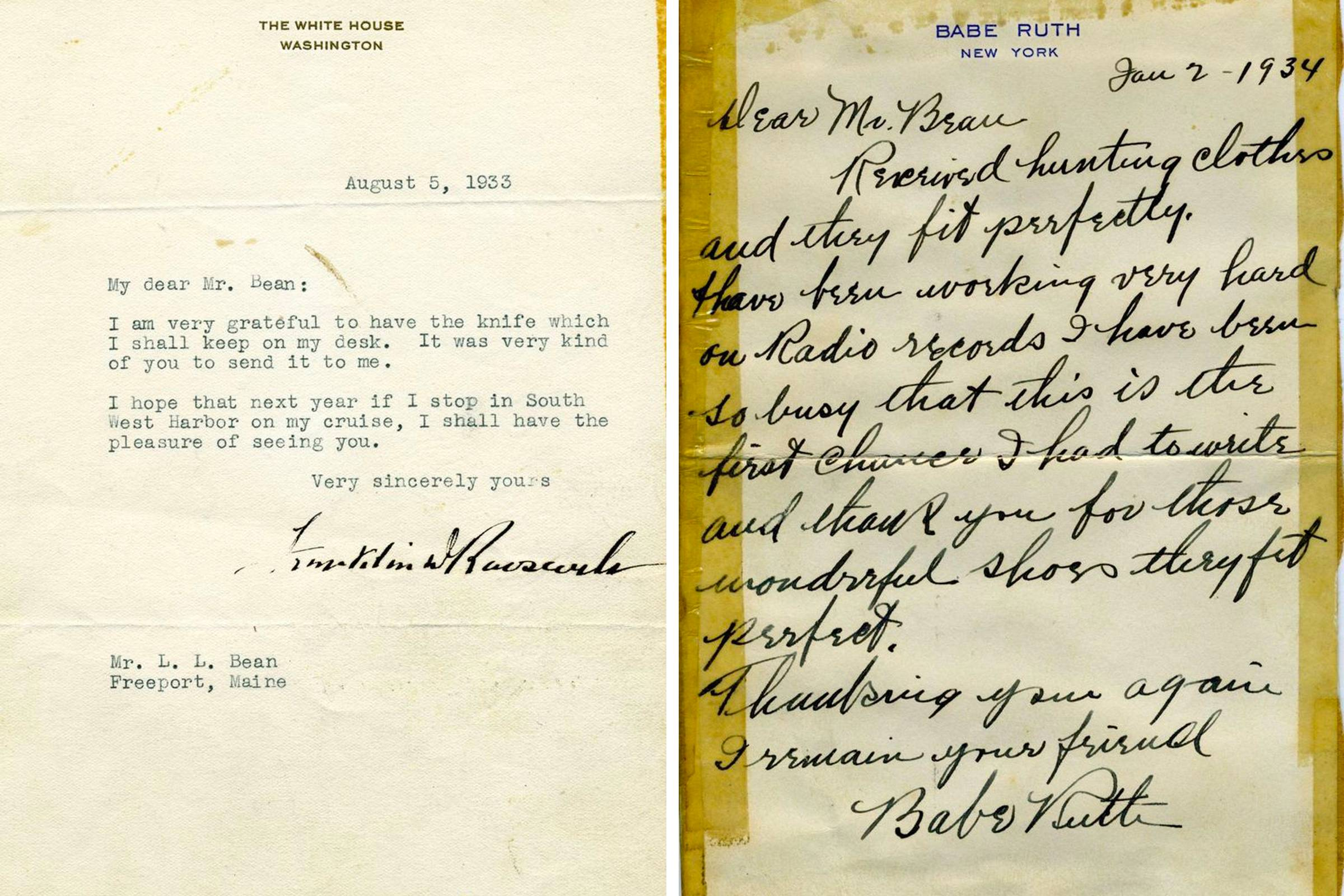 Letters from United States President Franklin D. Roosevelt (left) and baseball legend Babe Ruth to L.L. Bean