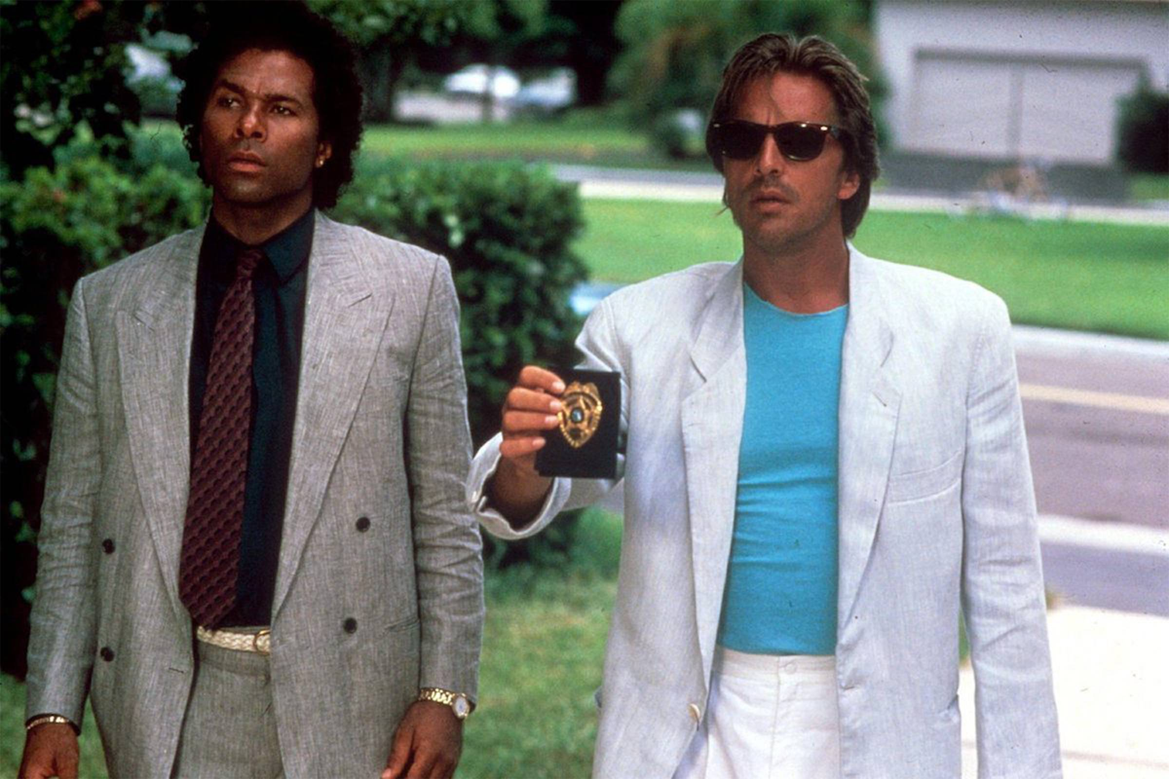 "Don Johnson and Phillip Michael Thomas in ""Miami Vice"""