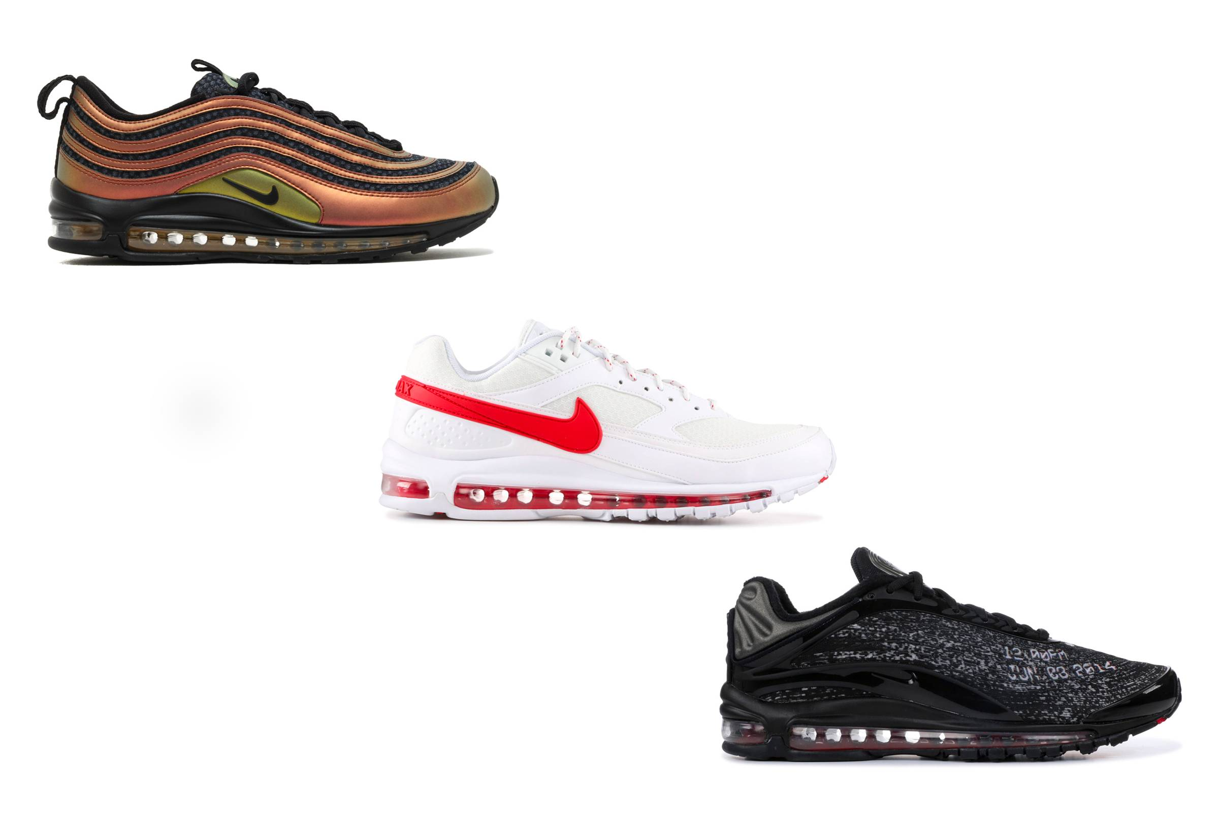 Skepta's Nike collaboration sneakers: The Air Max 97 Sk (top left), Air Max 97/BW (center) and Air Max Deluxe.