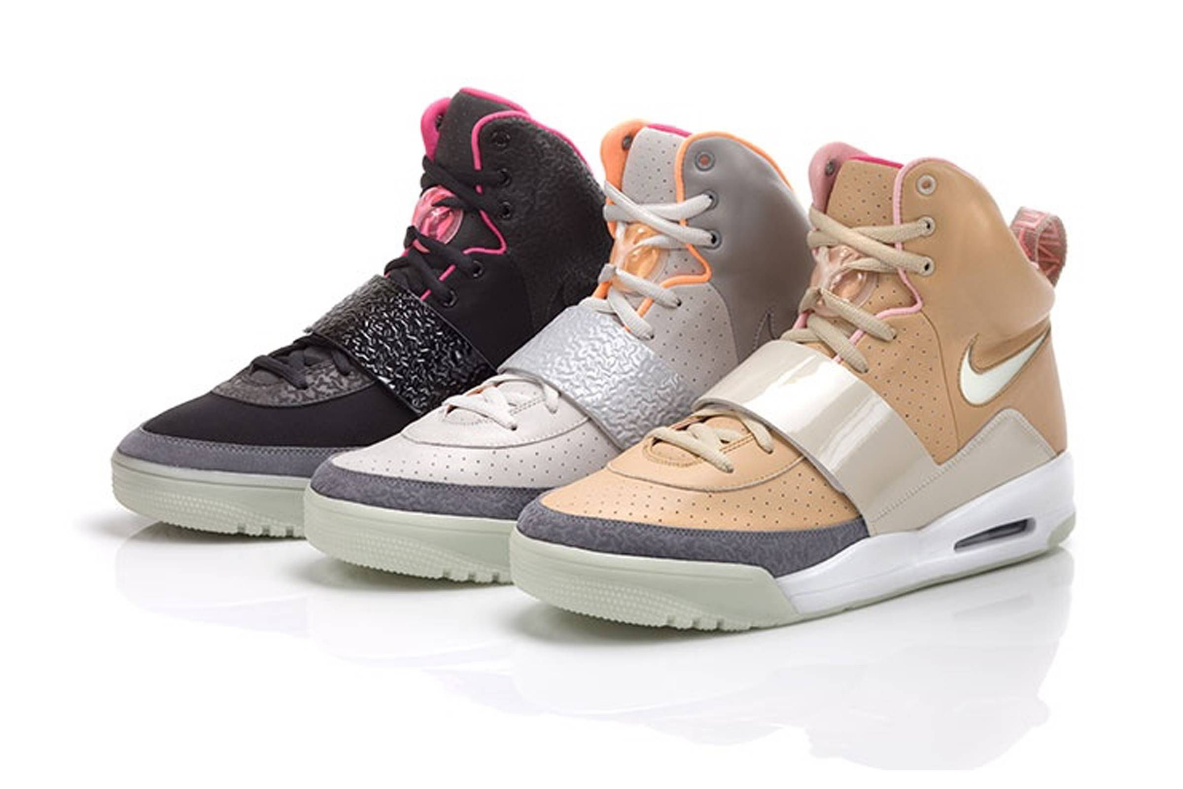 All three colorways of Nike's Air Yeezy I; (from left) Blink Black and Pink, Zen Grey and Net Tan