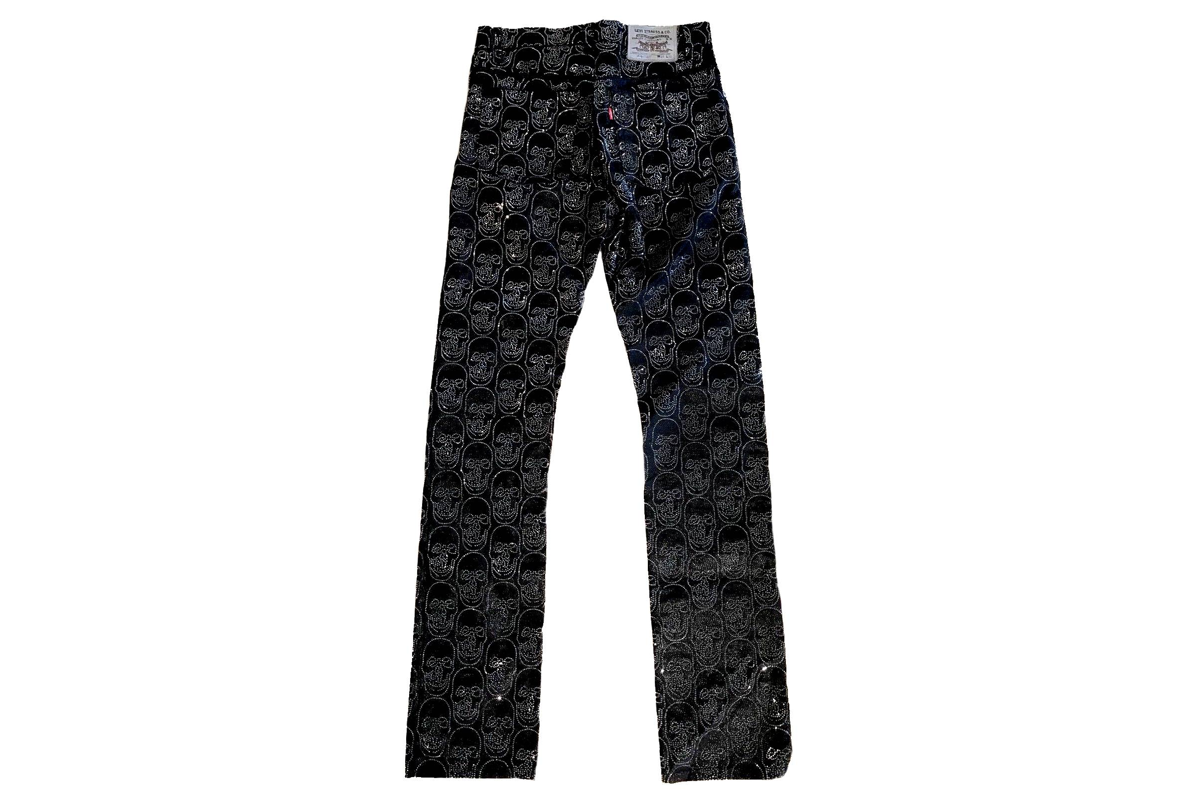 "Levi's x The Andy Warhol Factory x Damien Hirst Swarovski Crystal ""Skull"" Jeans"