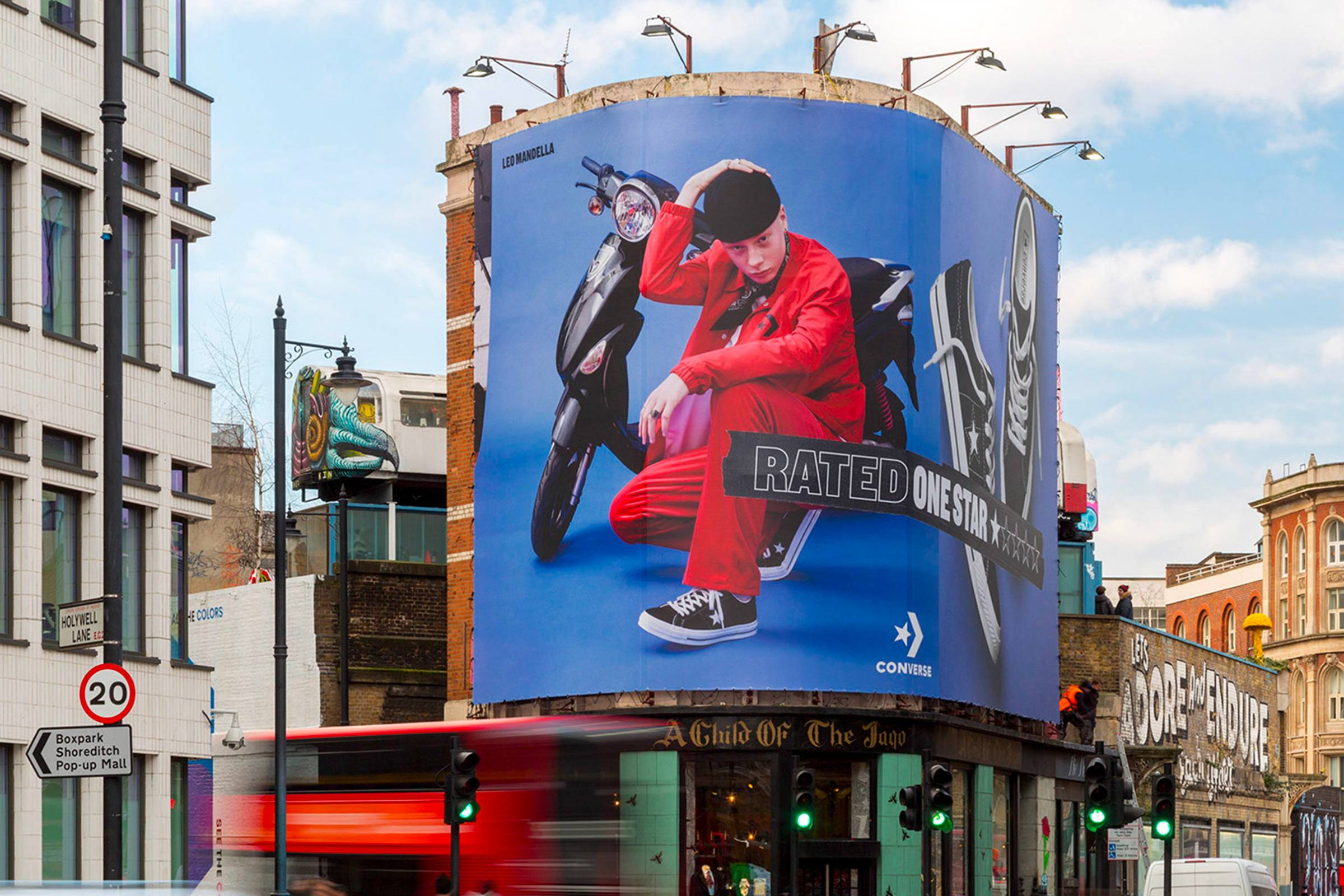 A Converse One Star Billboard featuring Gully Guy Leo in London