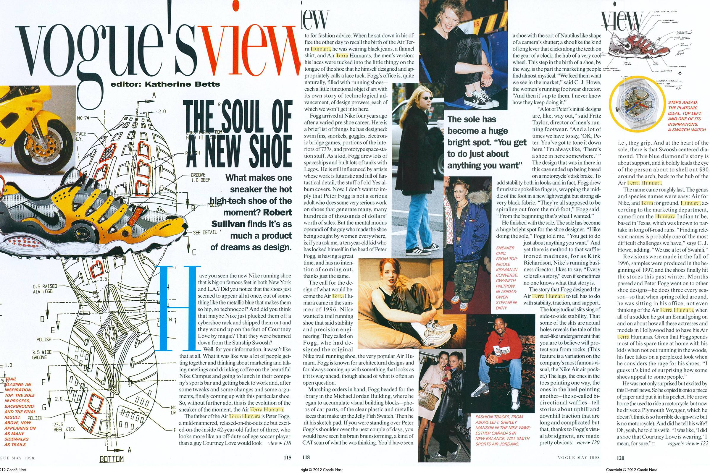 """Vogue's View"" editorial on the Nike Air Humara, the Nike Air Terra Humara and Peter Fogg in the May 1998 issue of ""Vogue"""