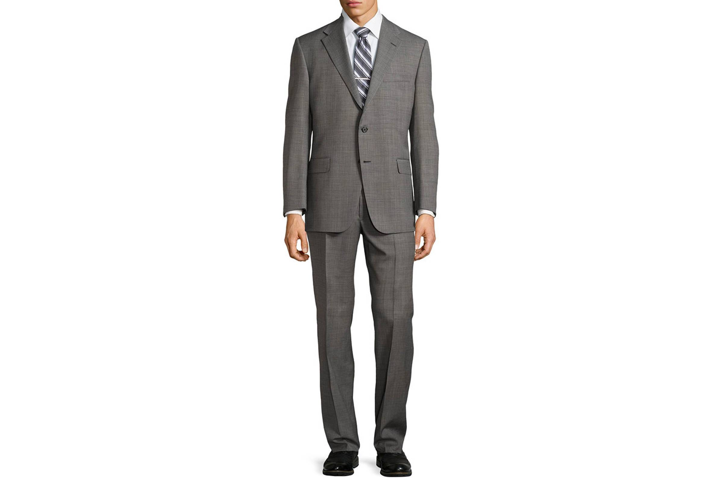 Types of Suits: Charcoal Single-Breasted Suit - Worsted Wool