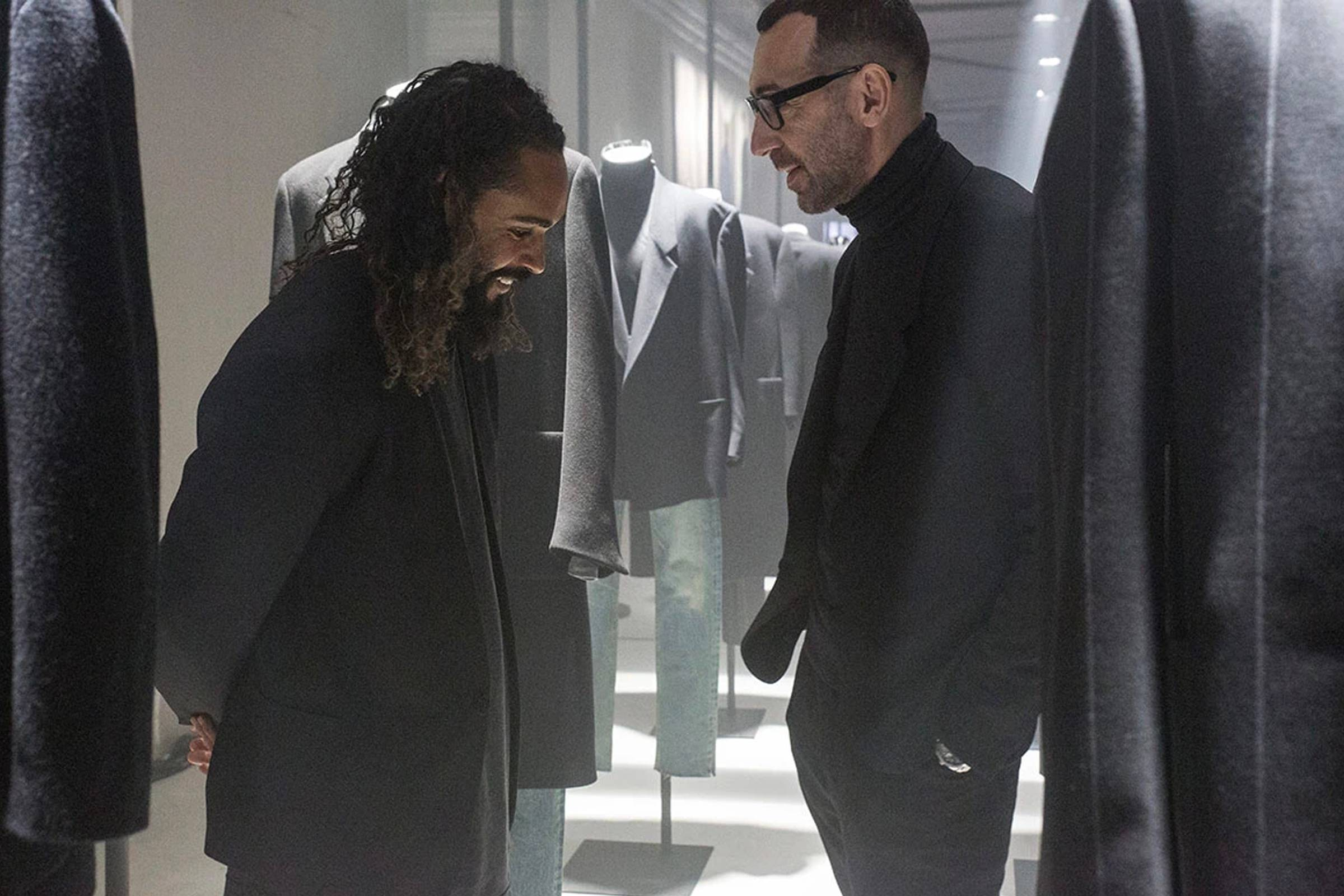 Jerry Lorenzo (left) and Ermenegildo Zegna's Alessandro Sartori together in celebration of their two brands' collaboration. (Image courtesy of Highsnobiety)