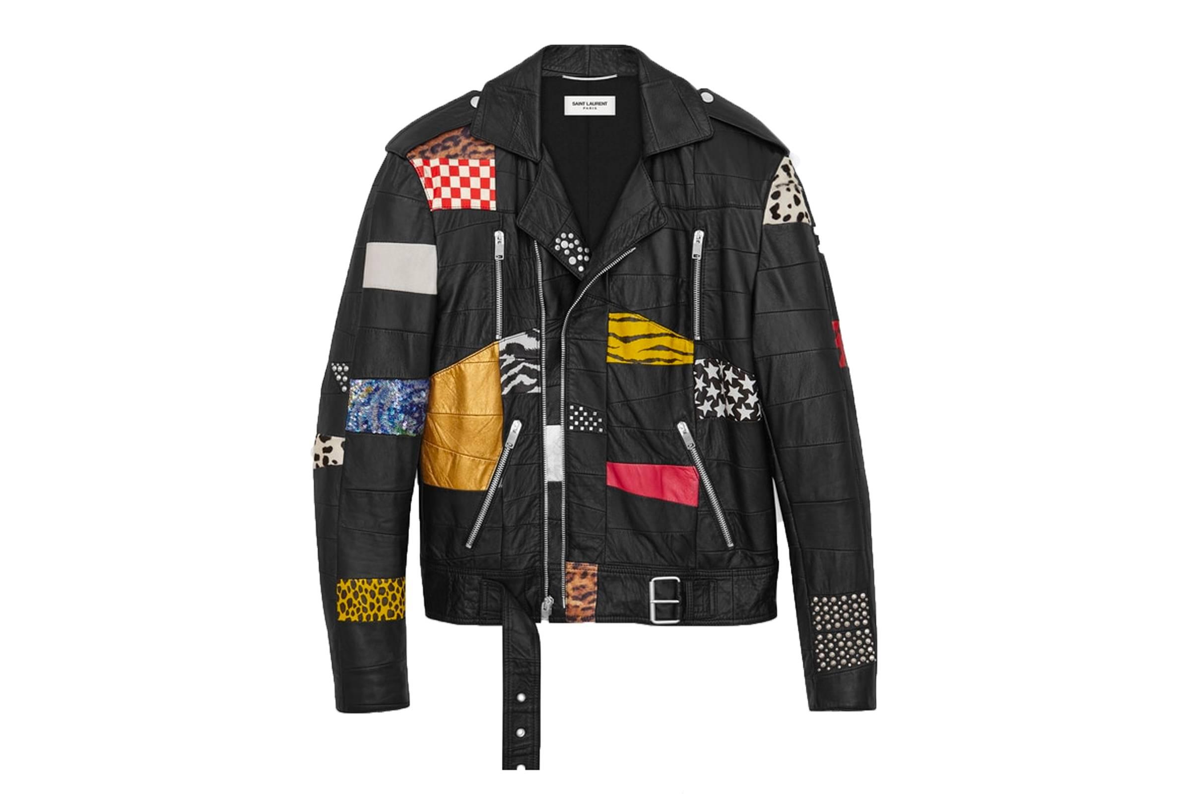 """Saint Laurent Paris """"Surf Sound"""" Patchwork Leather Jacket"""